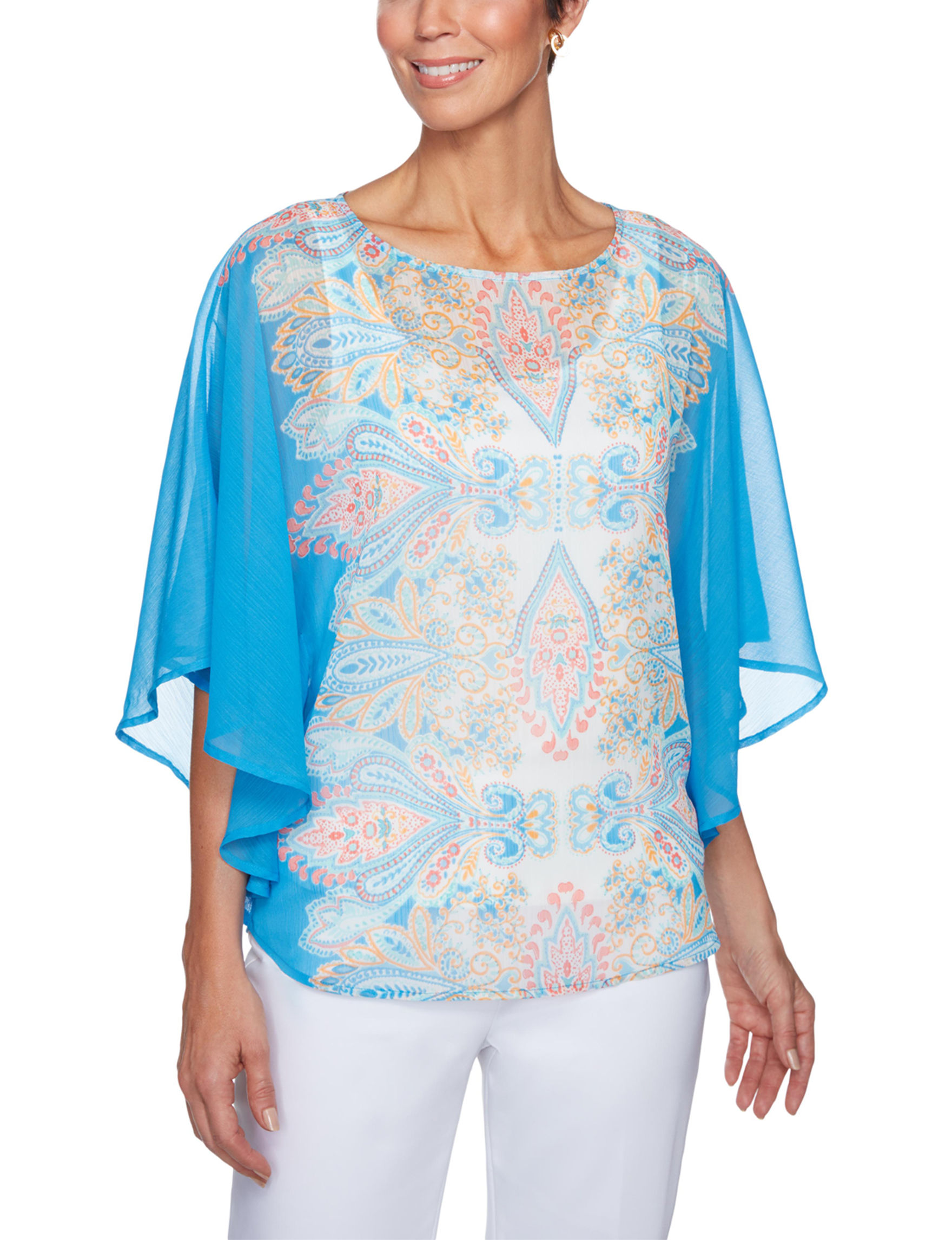 Ruby Road French Blue Shirts & Blouses