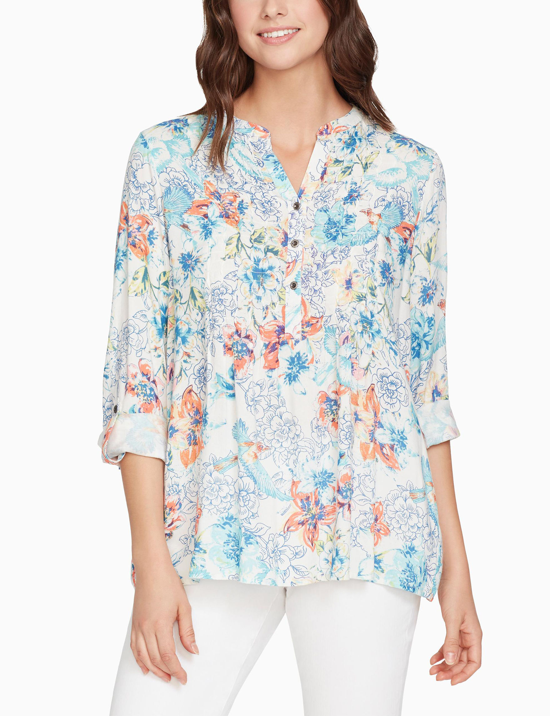 Nine West White Floral Shirts & Blouses