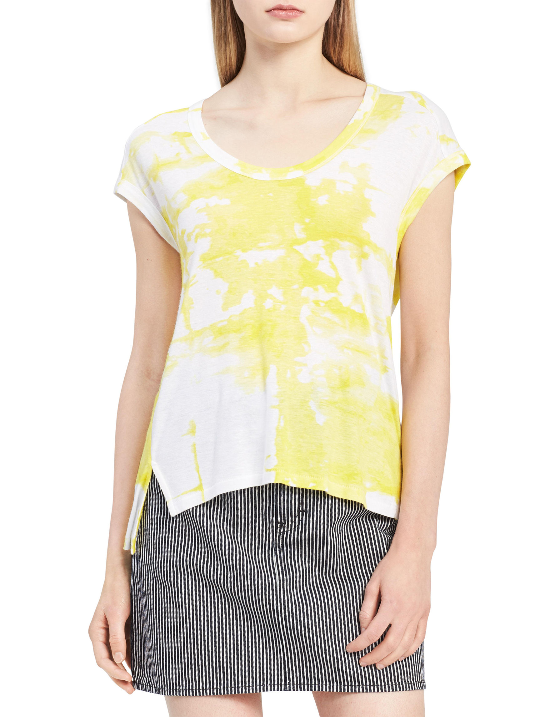 Calvin Klein Jeans White / Yellow Shirts & Blouses Tees & Tanks