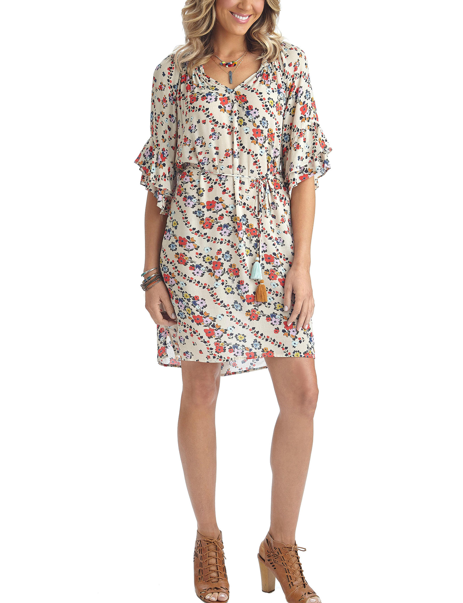 Democracy Tan Multi Everyday & Casual Shift Dresses