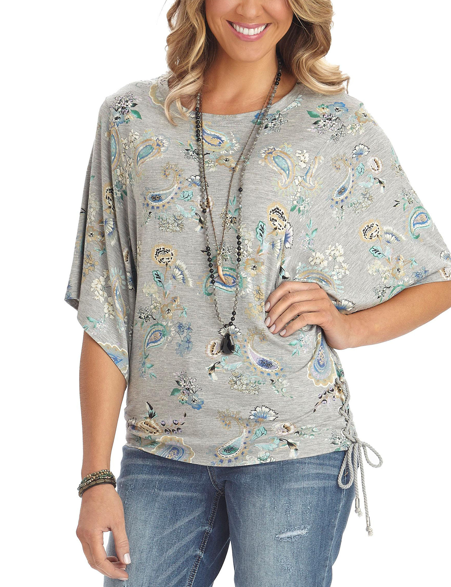 Democracy Grey Floral Shirts & Blouses