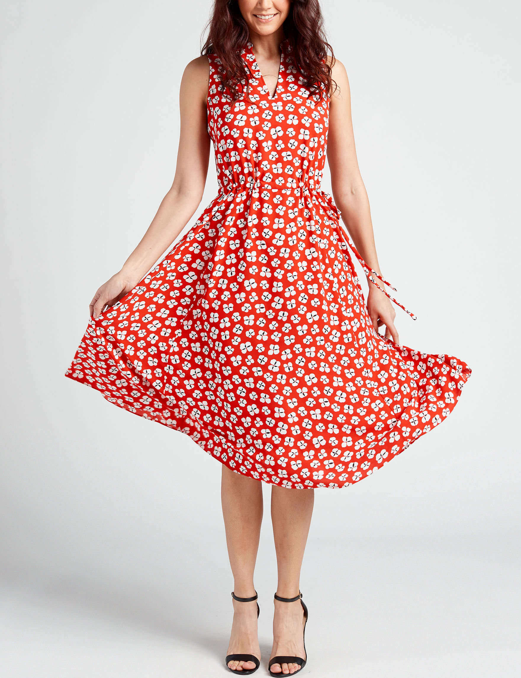 Anne Klein Red / White Everyday & Casual Fit & Flare Dresses