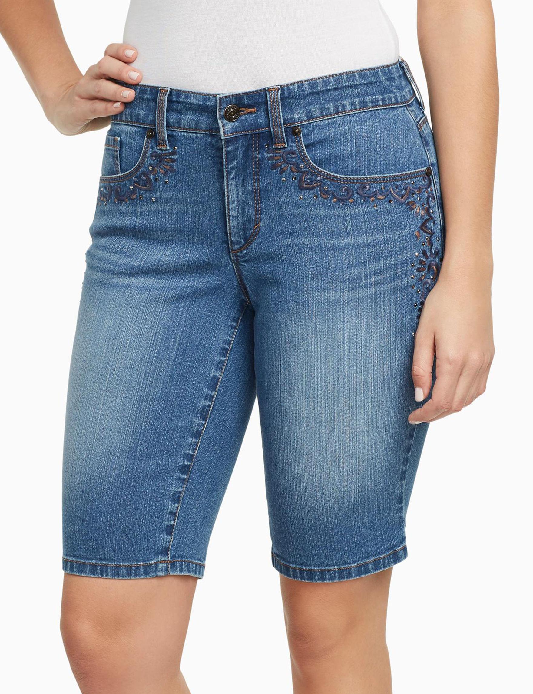 Gloria Vanderbilt Blue Bermudas Denim Shorts