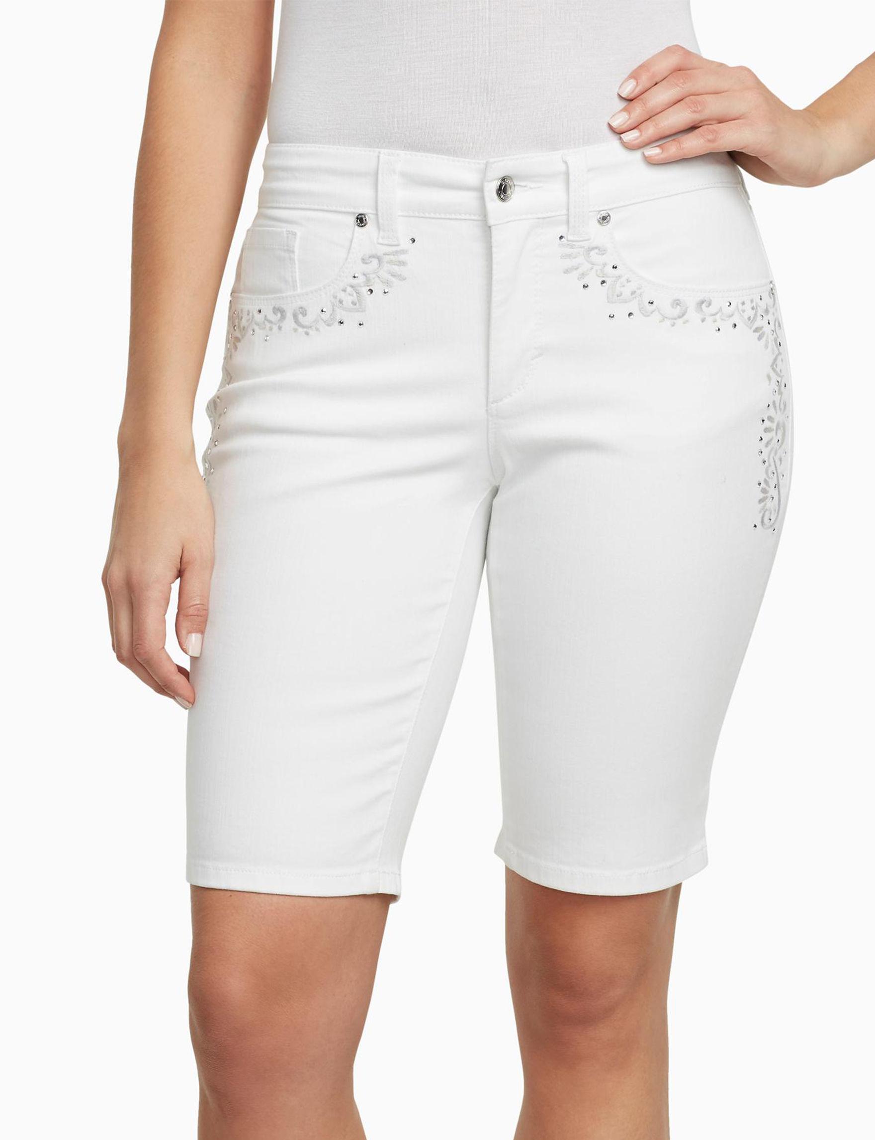 Gloria Vanderbilt White Bermudas Denim Shorts