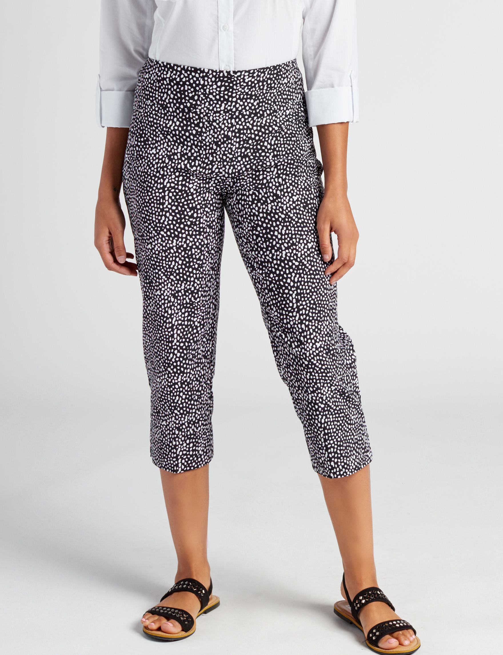 Valerie Stevens Black / White Capris & Crops Stretch