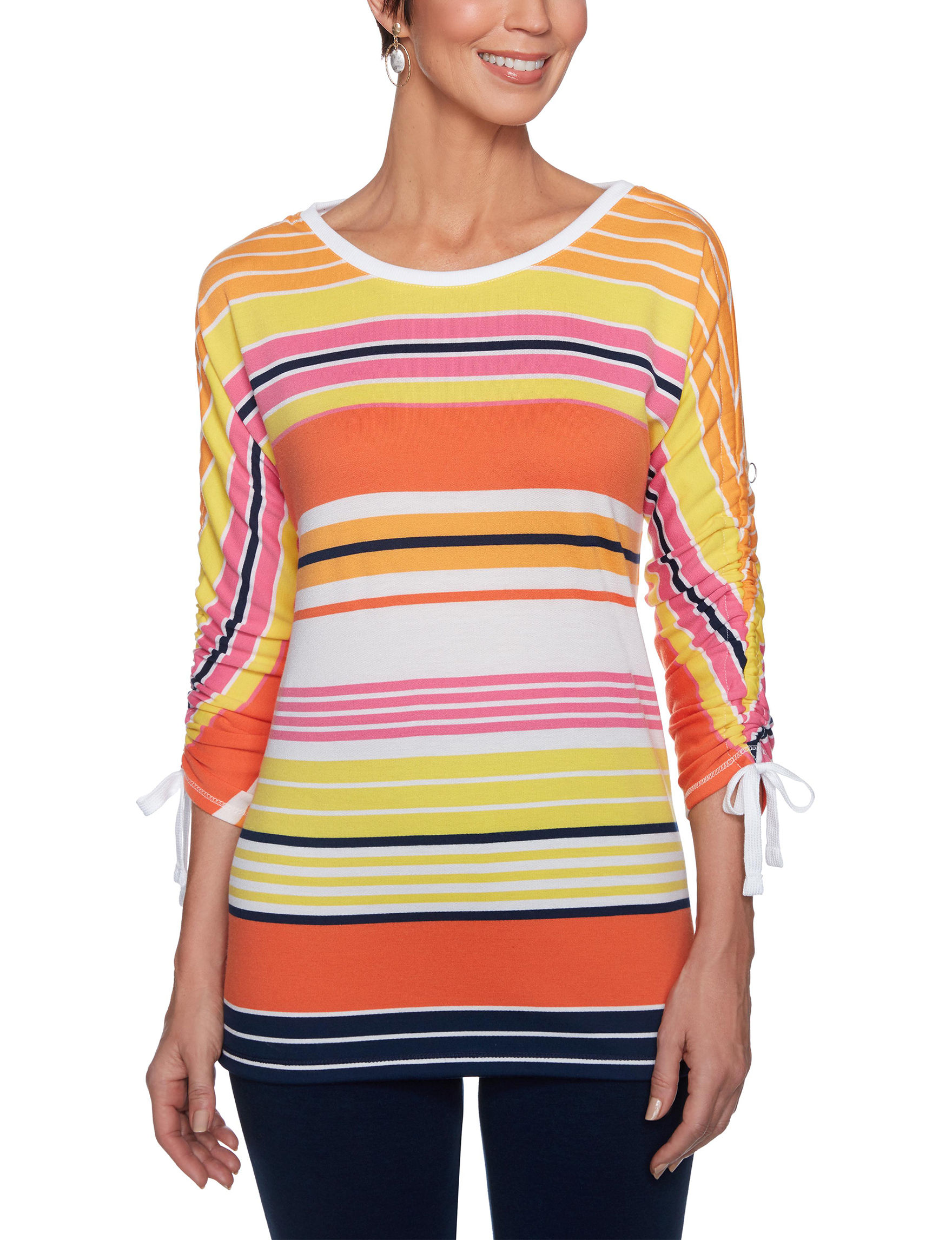 Ruby Road Orange Multi Pull-overs Shirts & Blouses