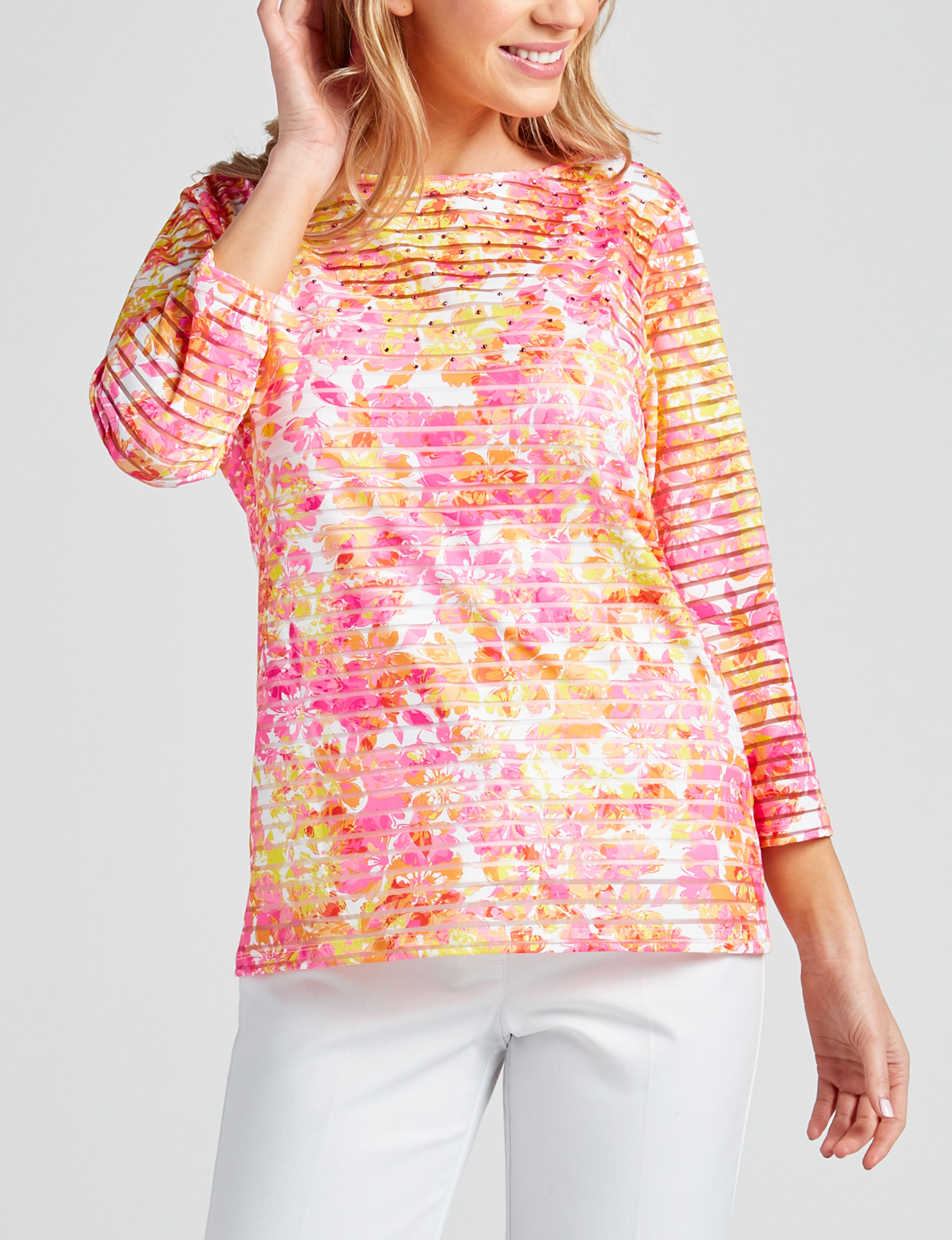 Ruby Road Pink Multi Pull-overs Shirts & Blouses