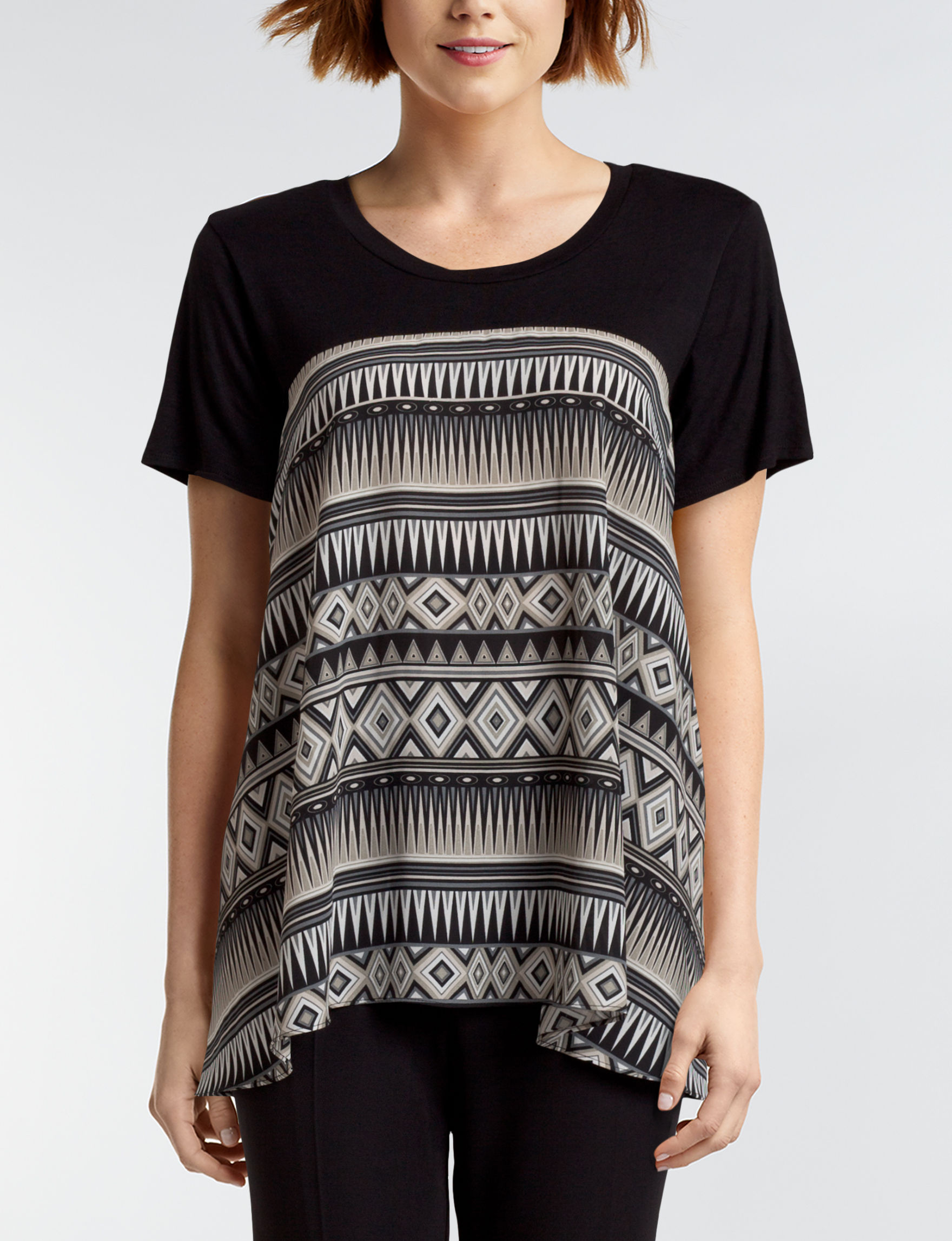 Hannah Grey Multi Shirts & Blouses