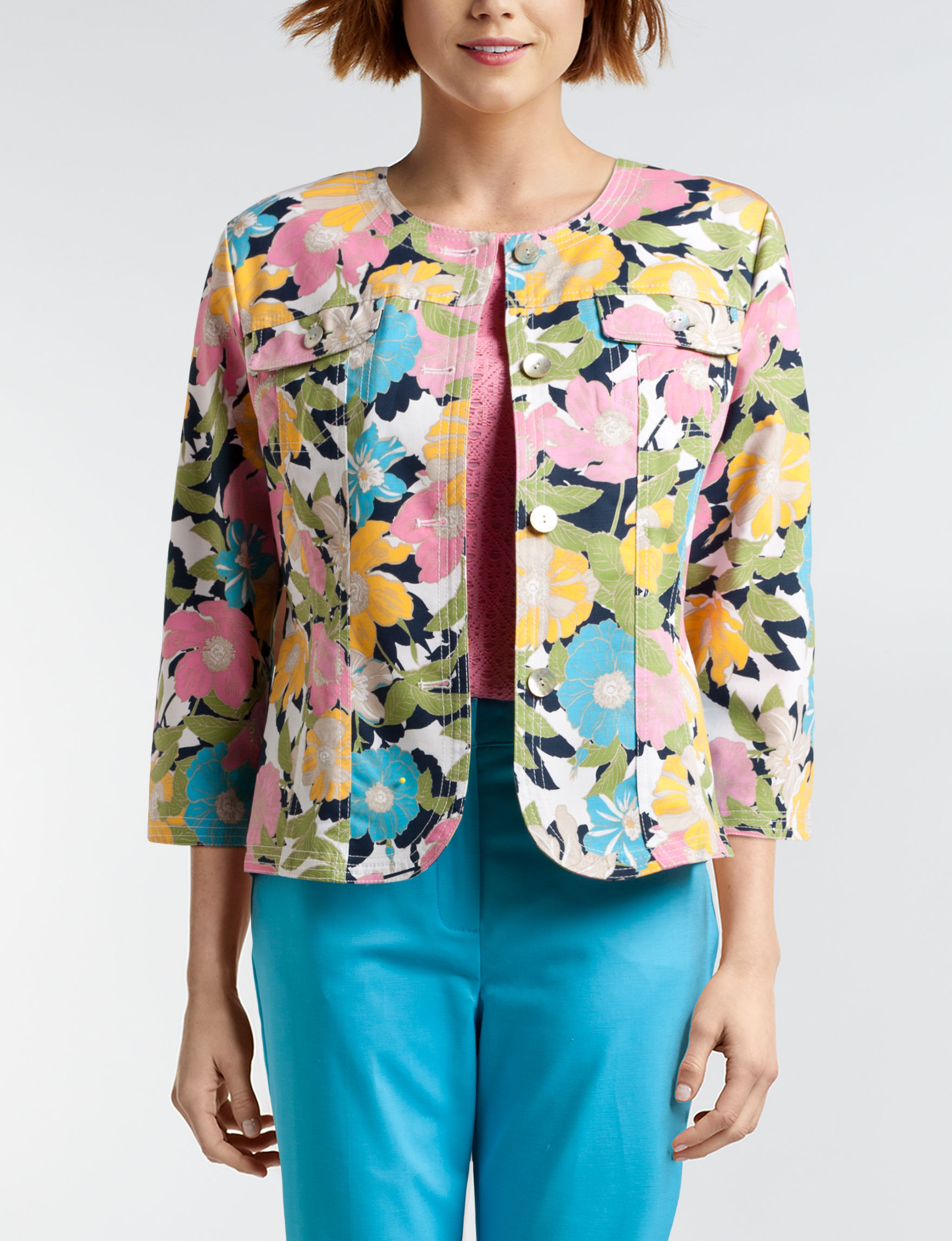 Ruby Road Pink Multi Lightweight Jackets & Blazers