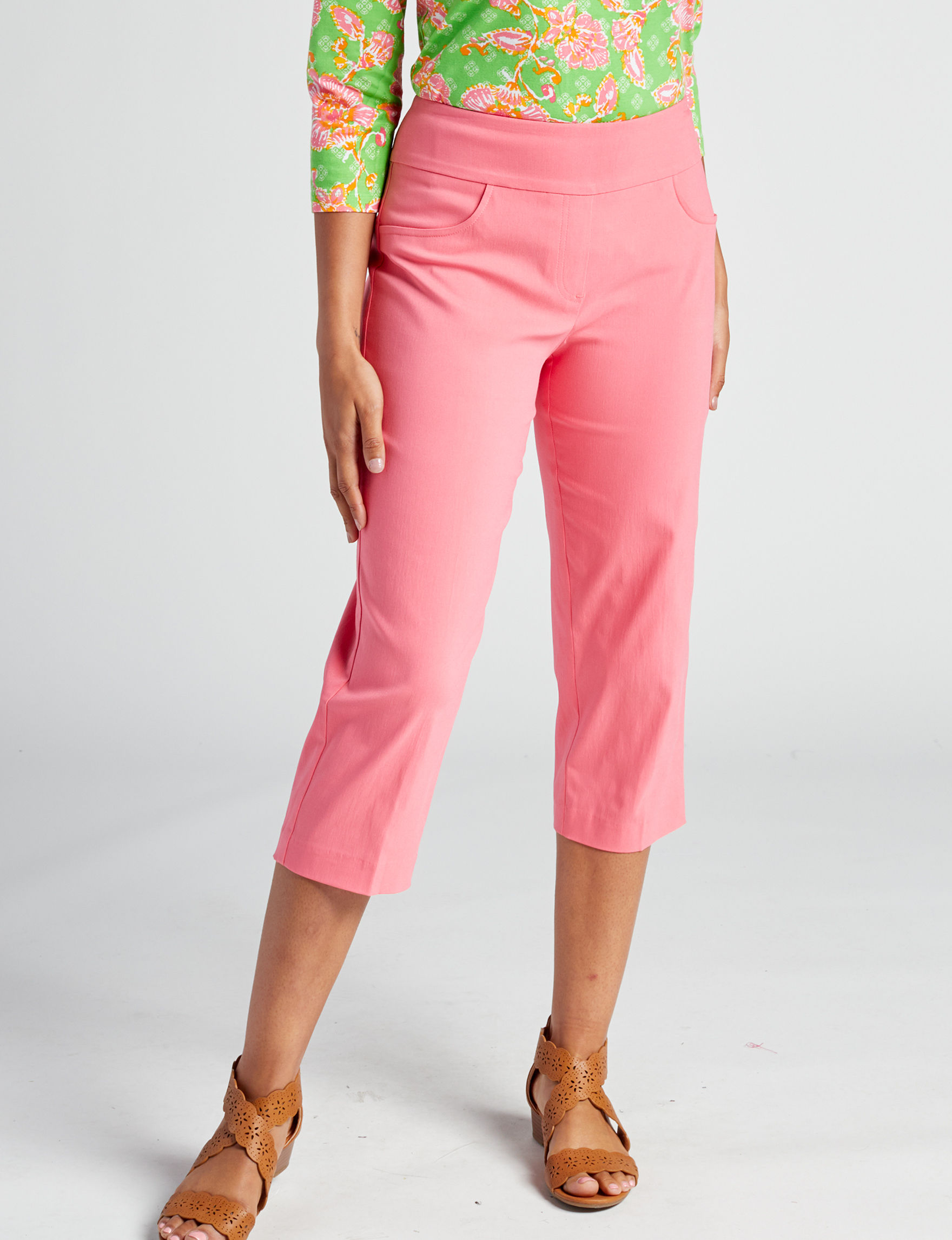 Ruby Road Coral Capris & Crops Straight Stretch