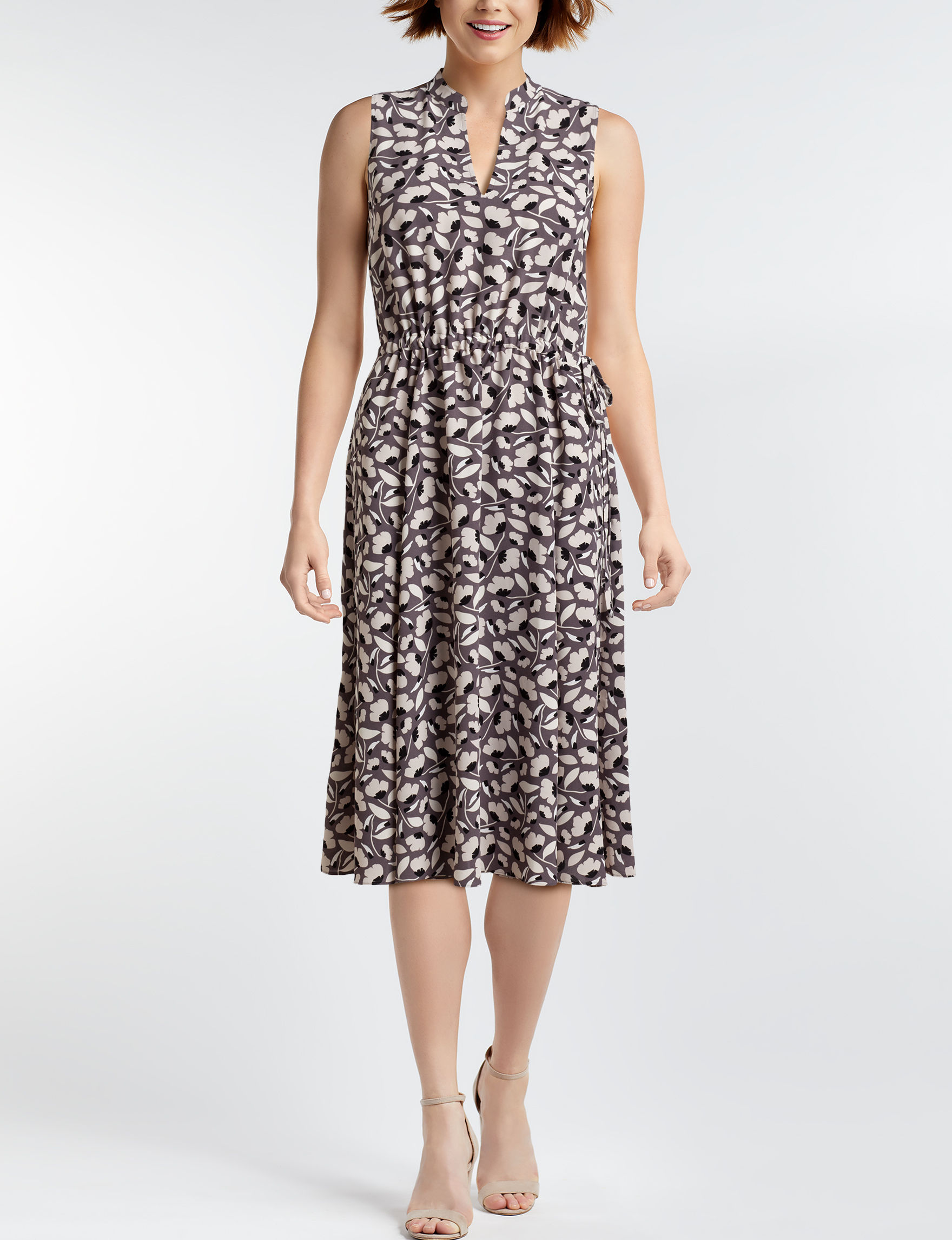 Anne Klein Grey Cocktail & Party Everyday & Casual Fit & Flare Dresses