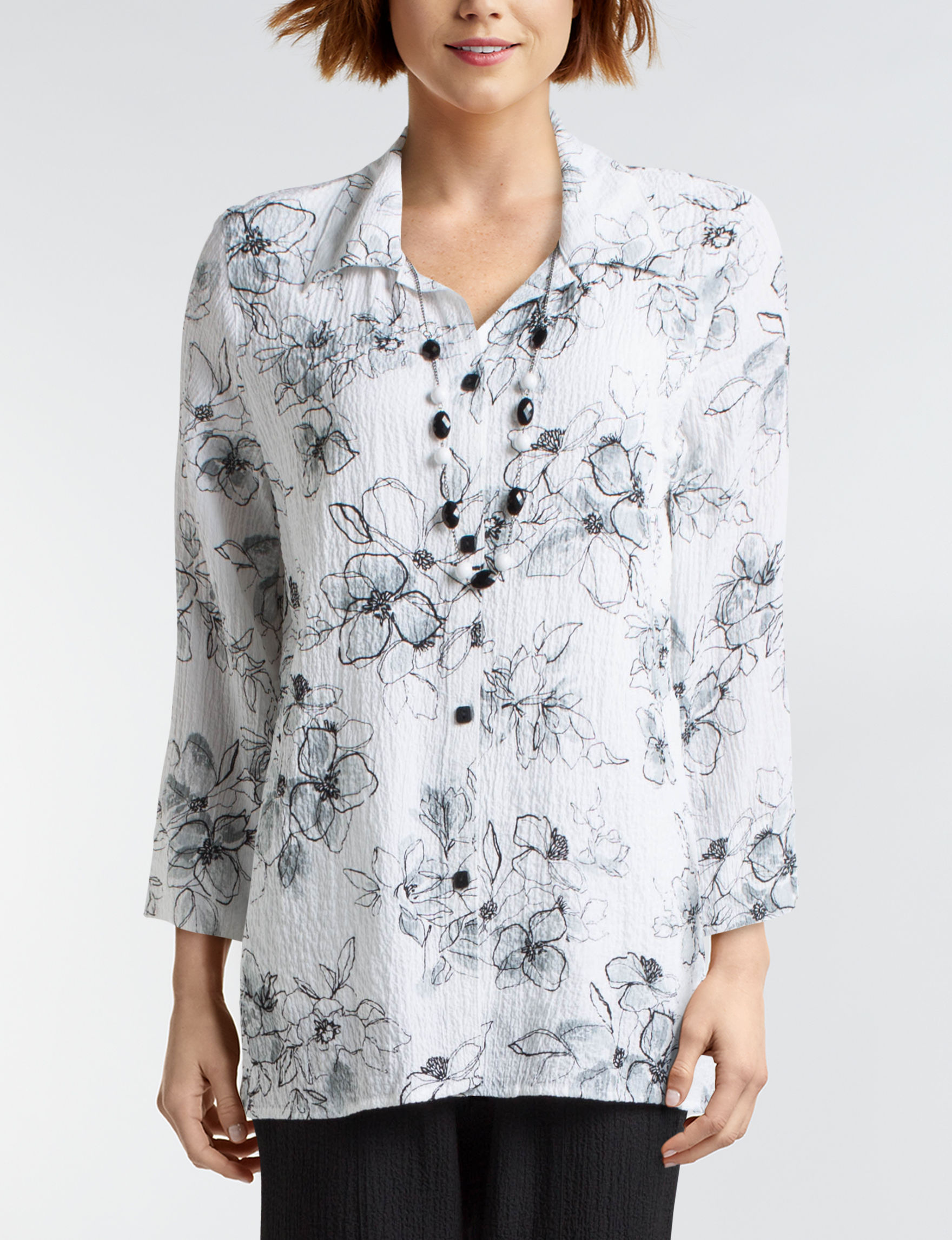 Alfred Dunner White / Black Shirts & Blouses