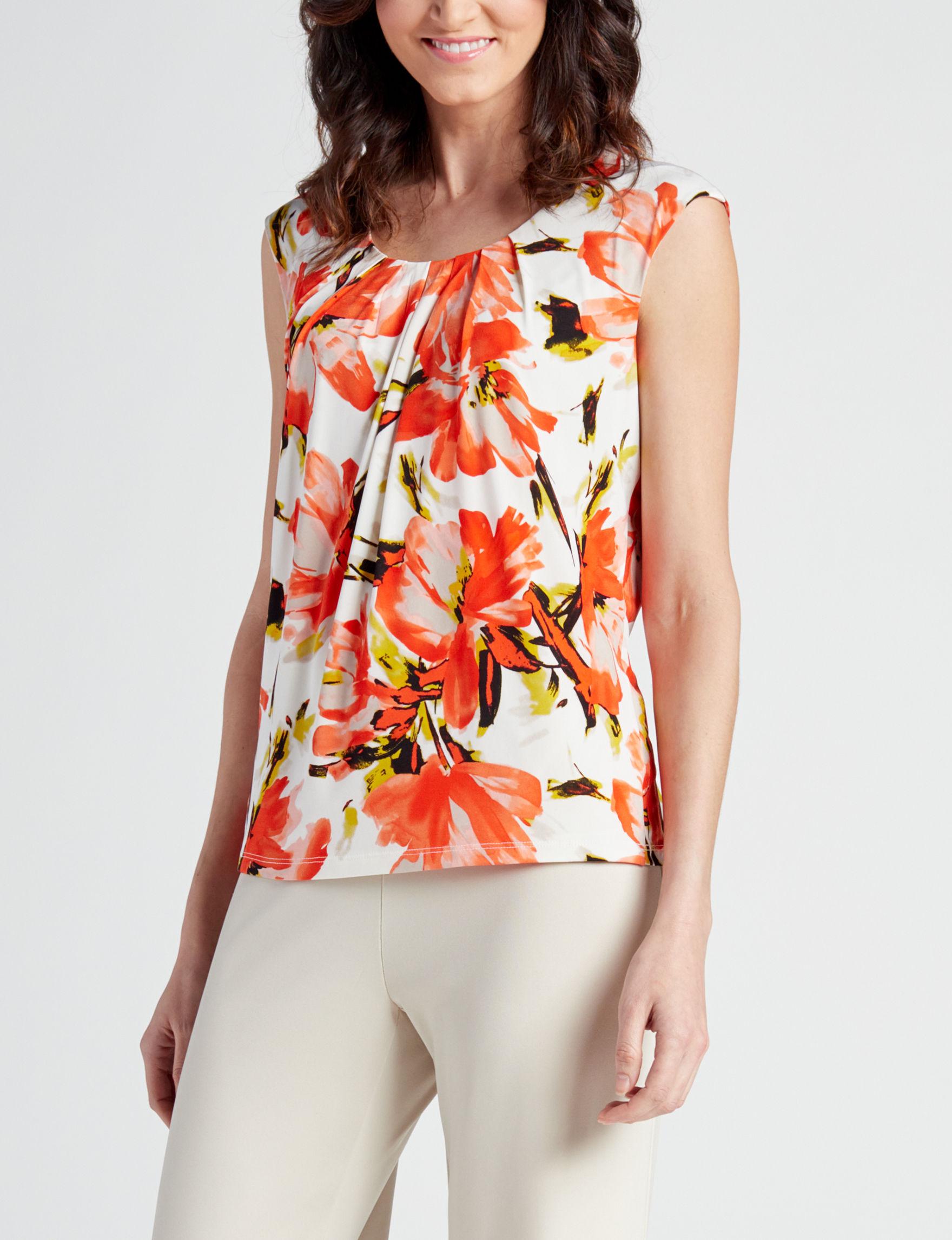 Kasper Orange Multi Shirts & Blouses