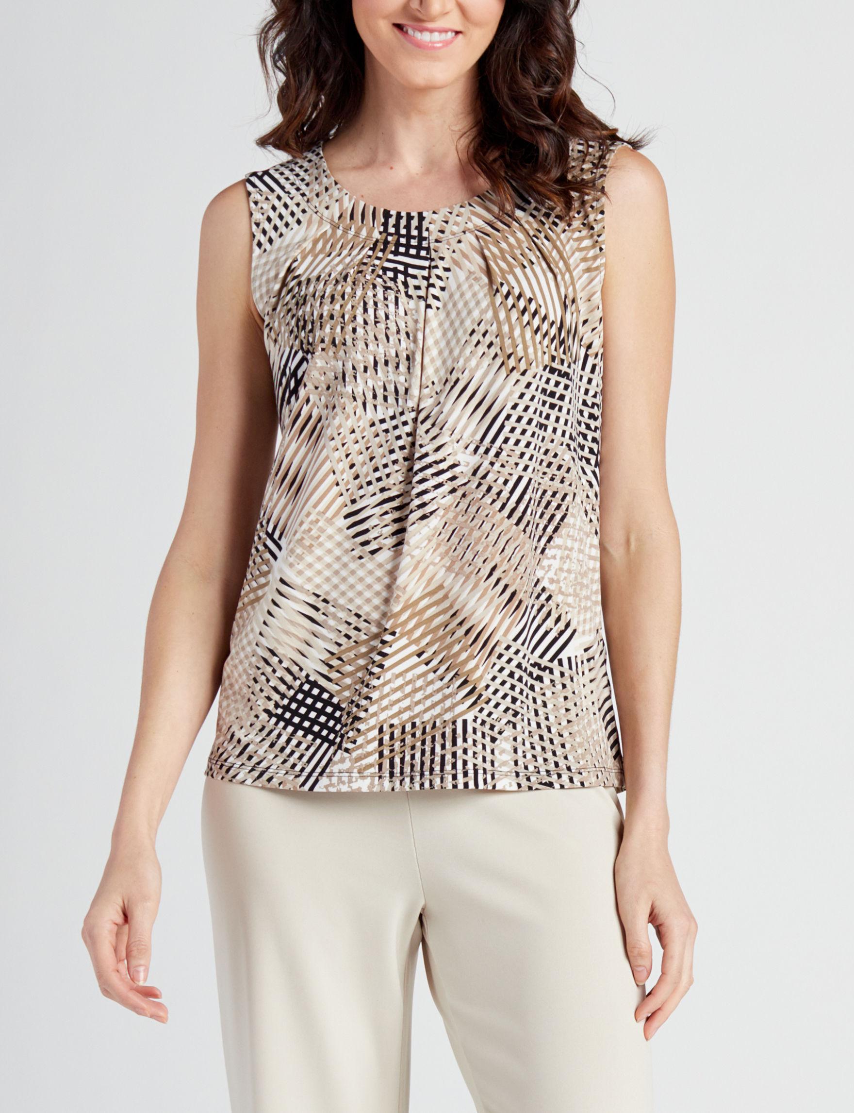 Kasper Brown Multi Shirts & Blouses