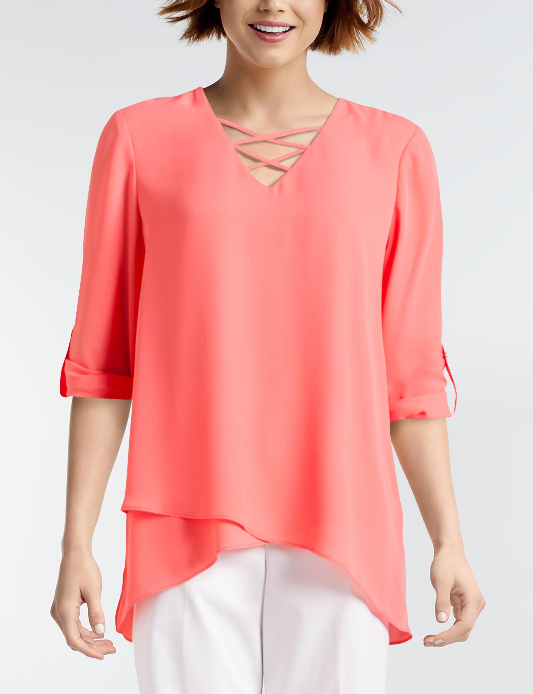 Zac & Rachel Orange Shirts & Blouses