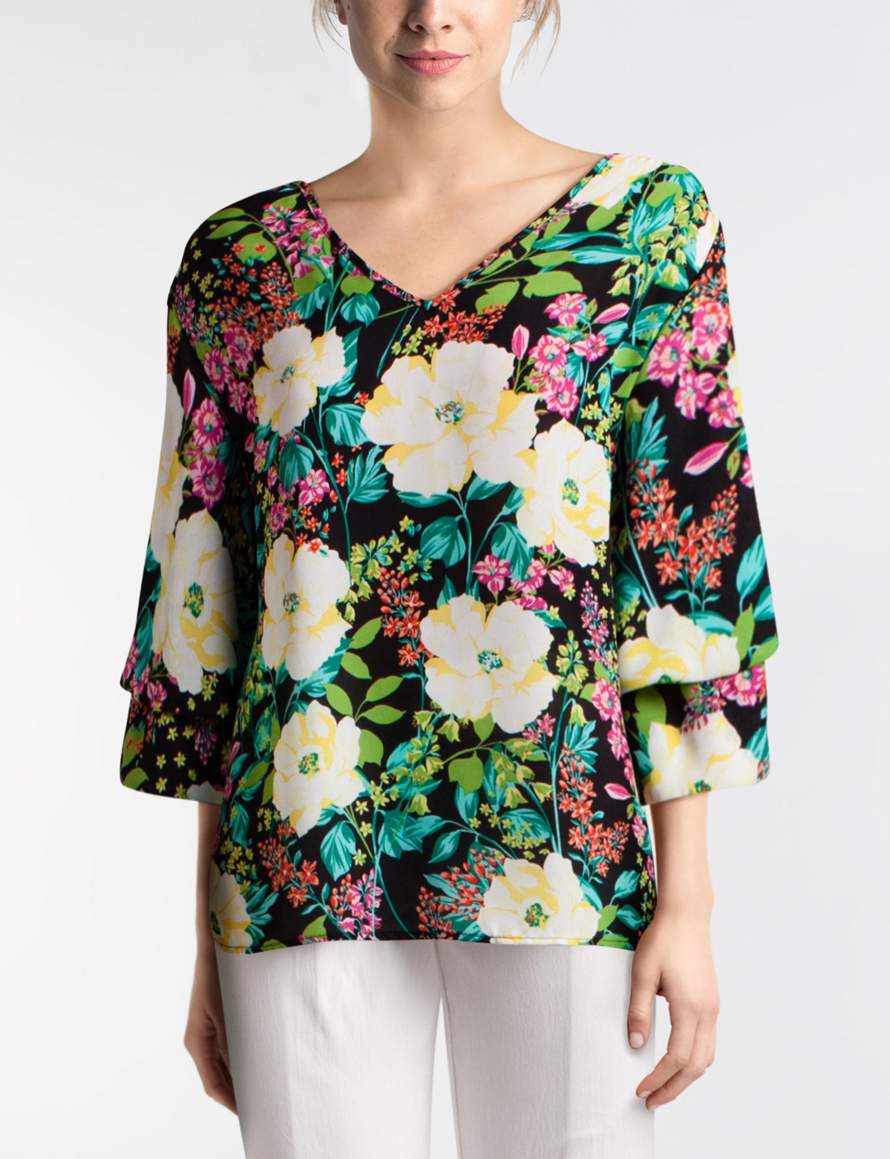 Valerie Stevens Black Floral Shirts & Blouses