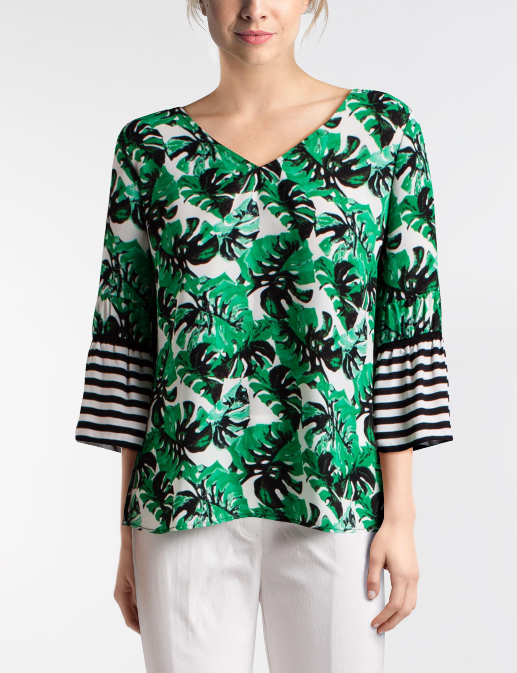 Valerie Stevens Green Multi Shirts & Blouses