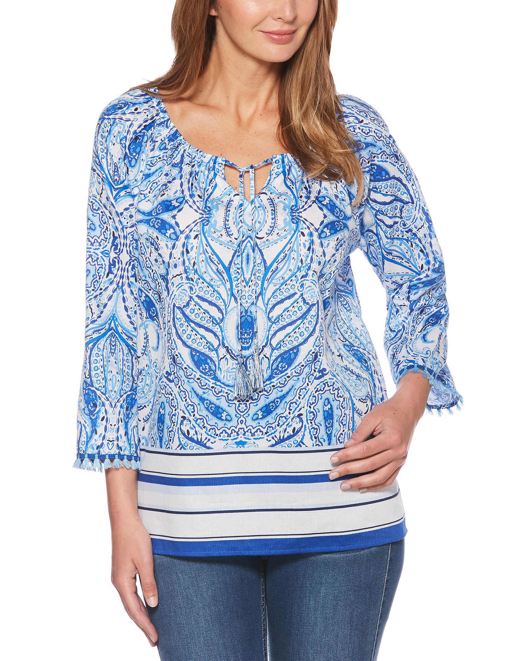 Rafaella White Multi Shirts & Blouses