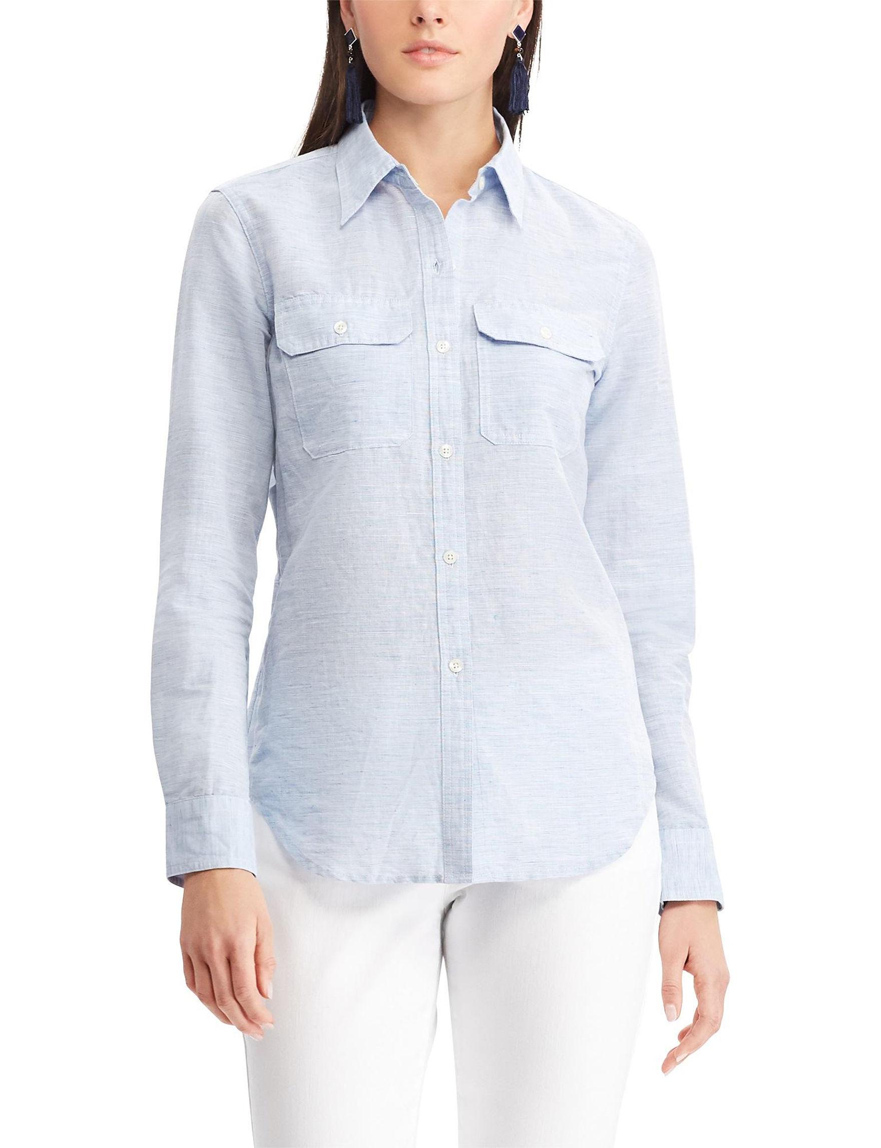 Chaps Blue Shirts & Blouses