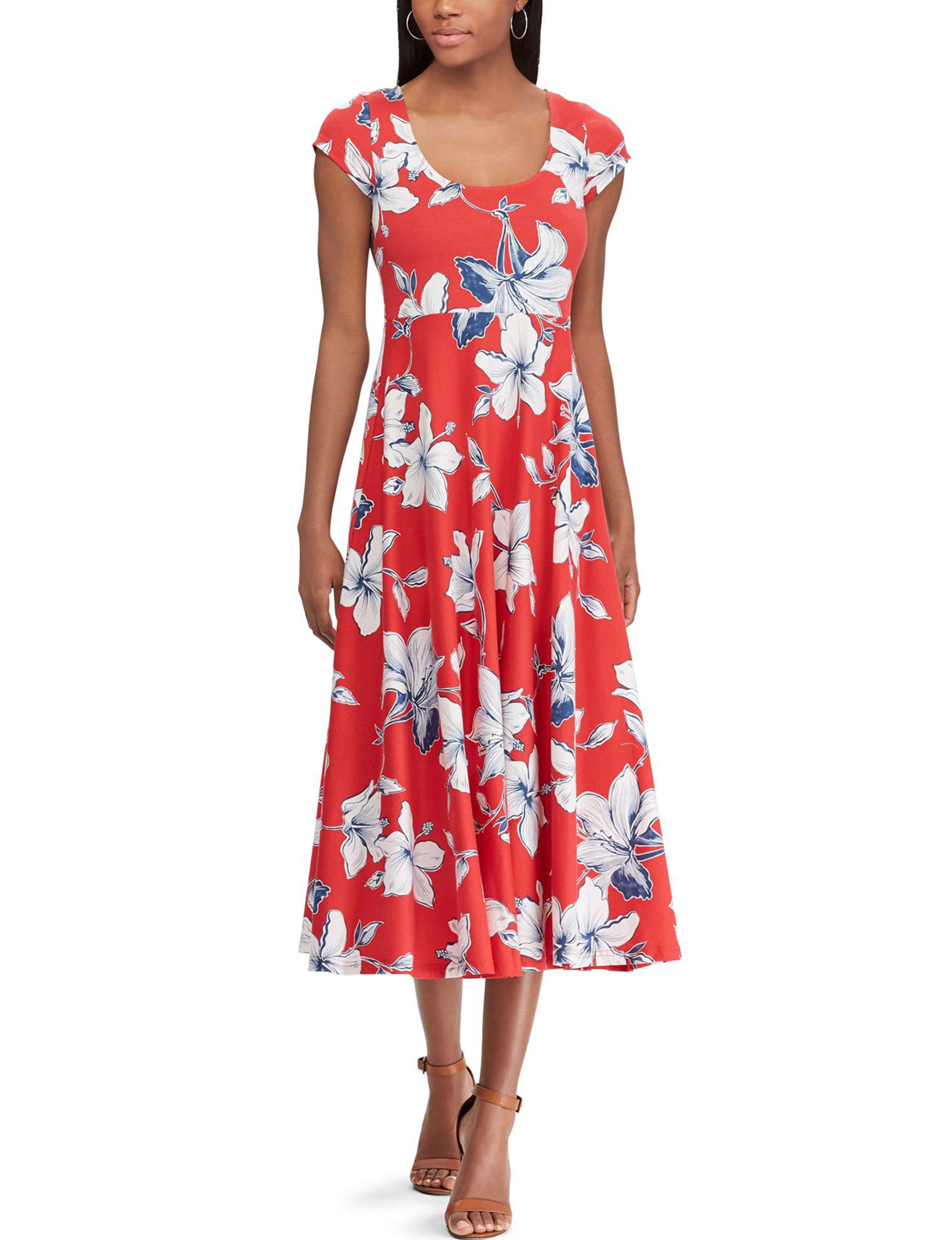 Chaps Red Multi Everyday & Casual Fit & Flare Dresses