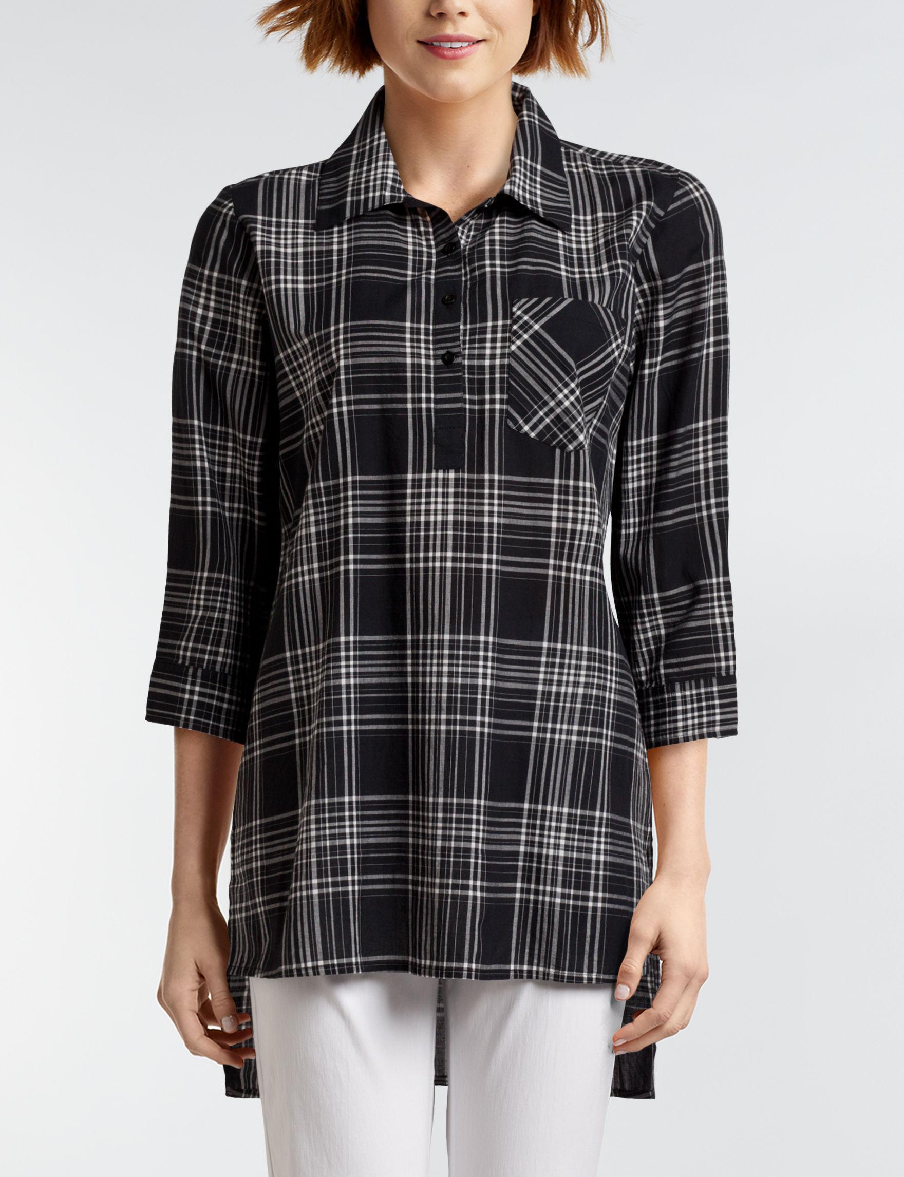 New Direction Black / White Shirts & Blouses
