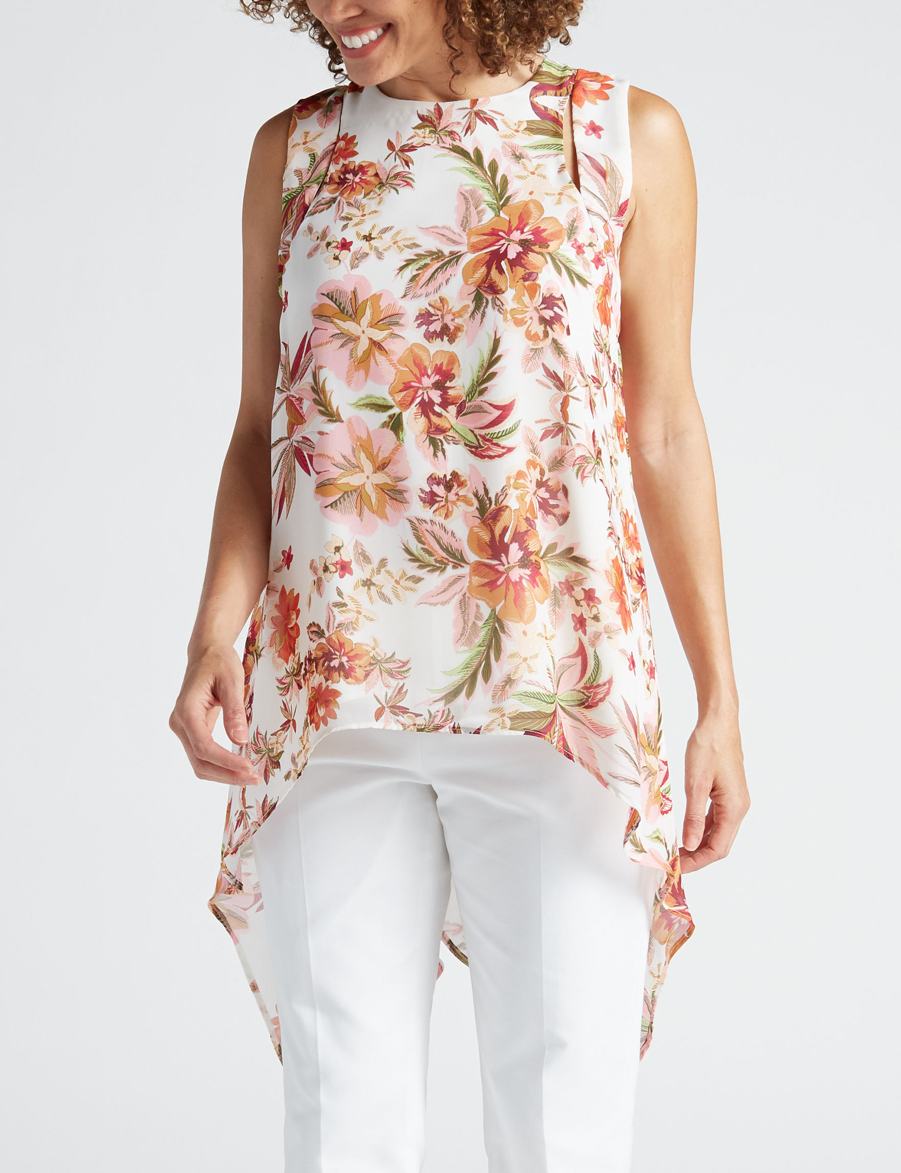 Valerie Stevens Ivory Floral Shirts & Blouses