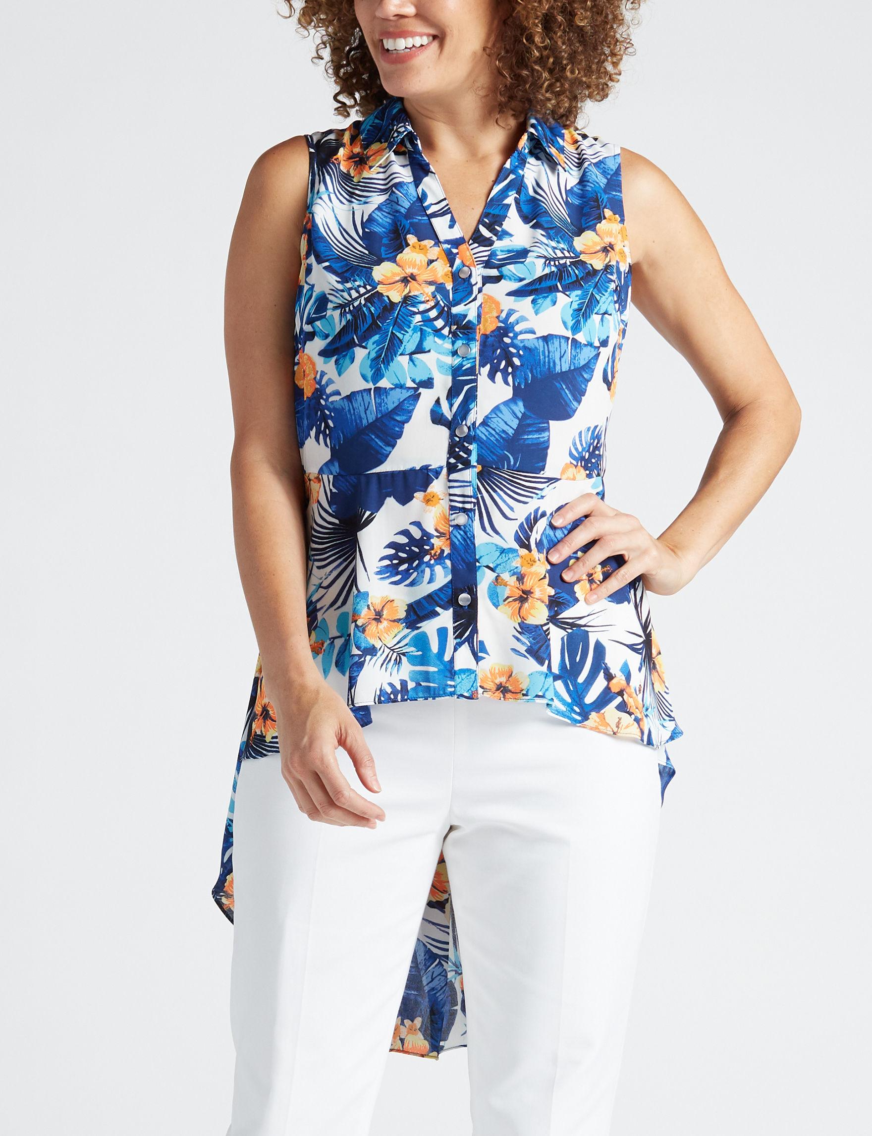 Valerie Stevens White Floral Shirts & Blouses