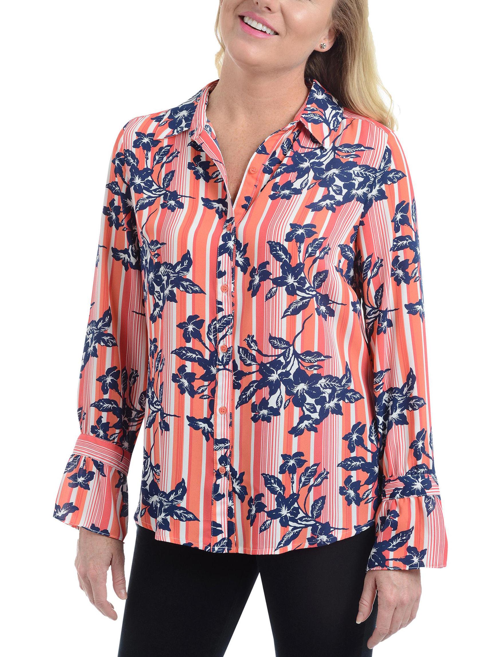 NY Collection Orange Multi Shirts & Blouses