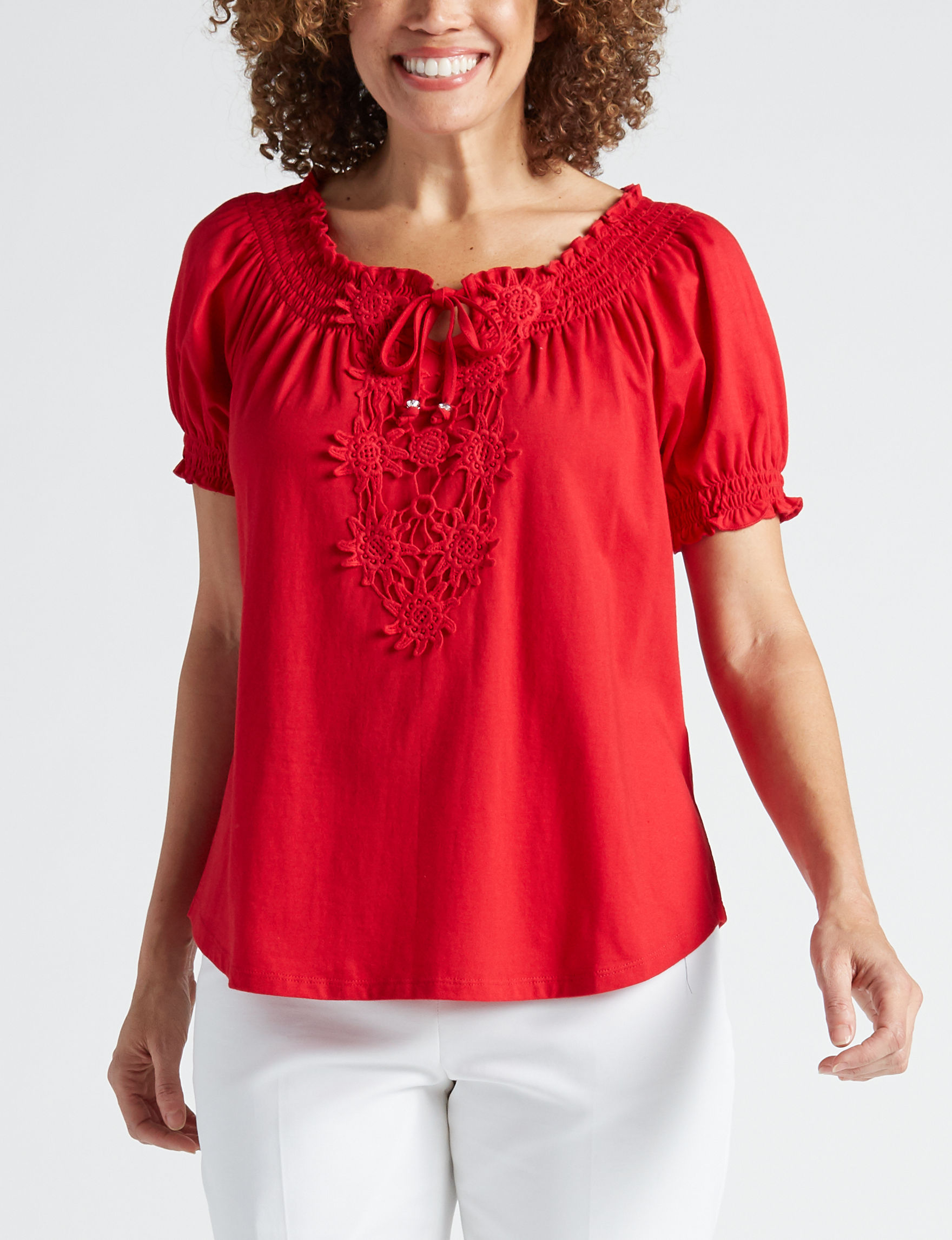 Cathy Daniels Red Shirts & Blouses