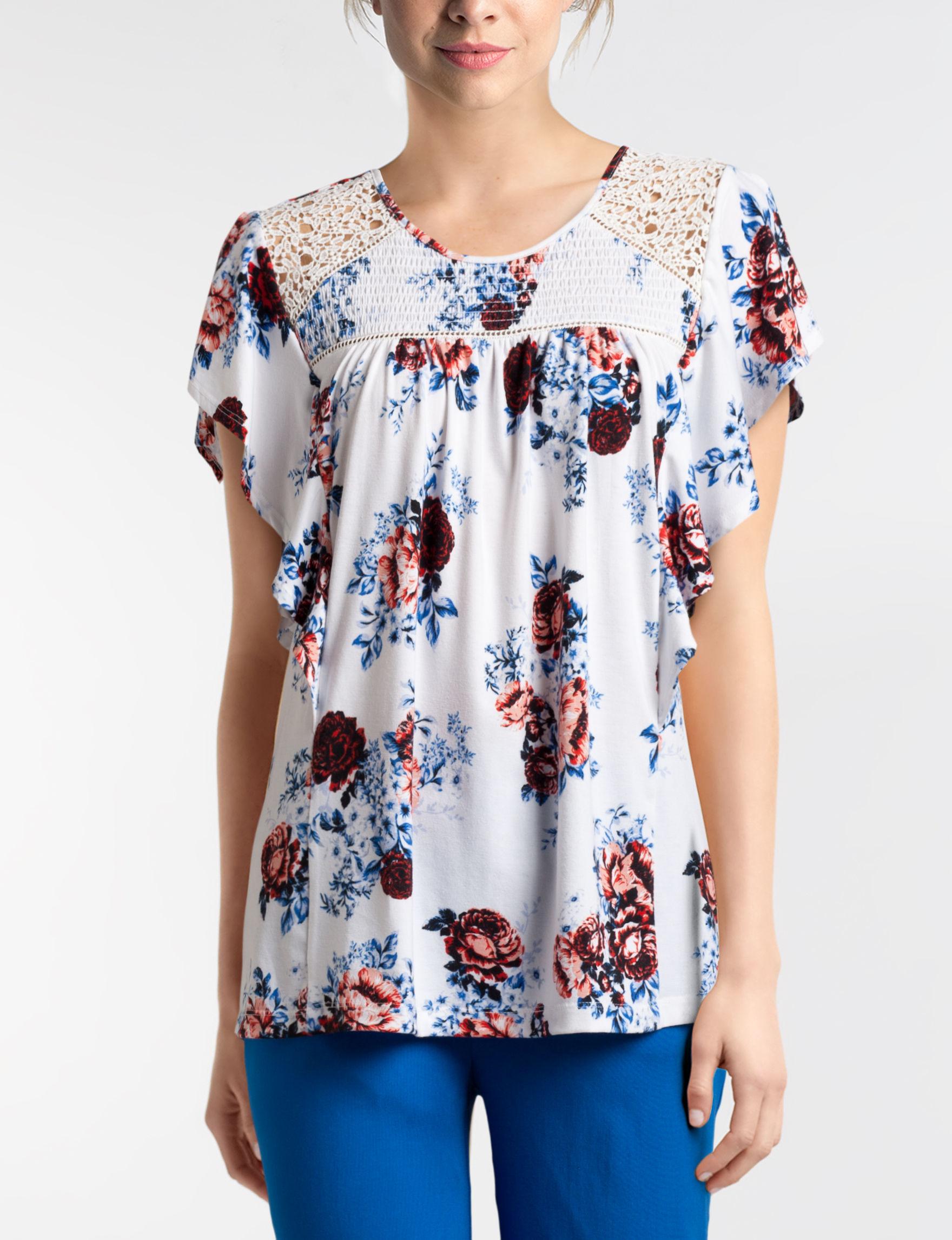 Hannah White Floral Shirts & Blouses