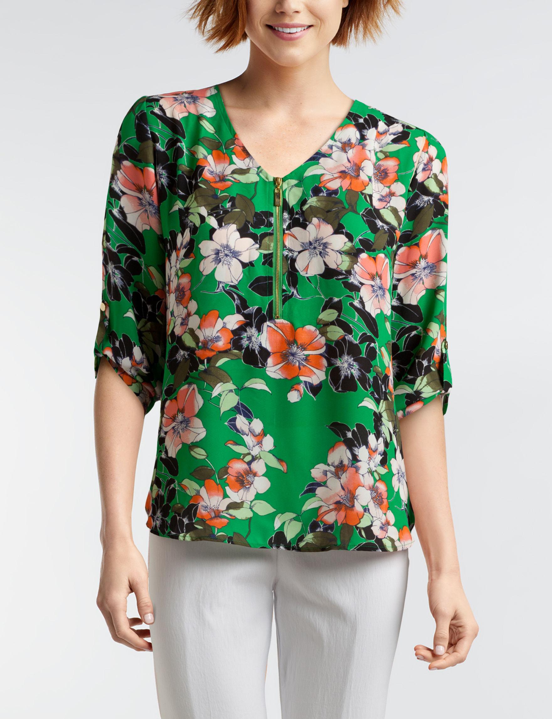 Valerie Stevens Green Floral Shirts & Blouses