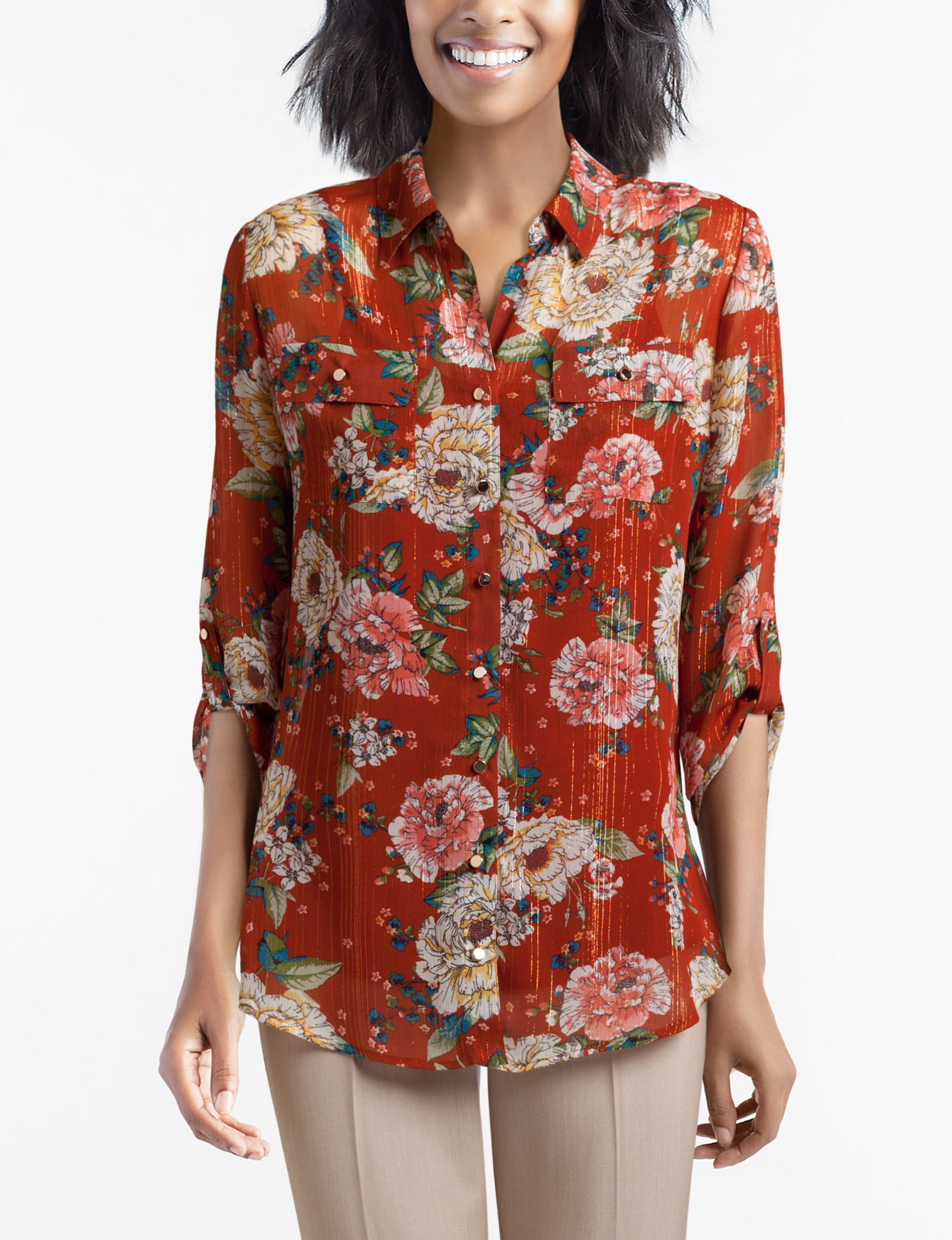 Sara Michelle Red Shirts & Blouses