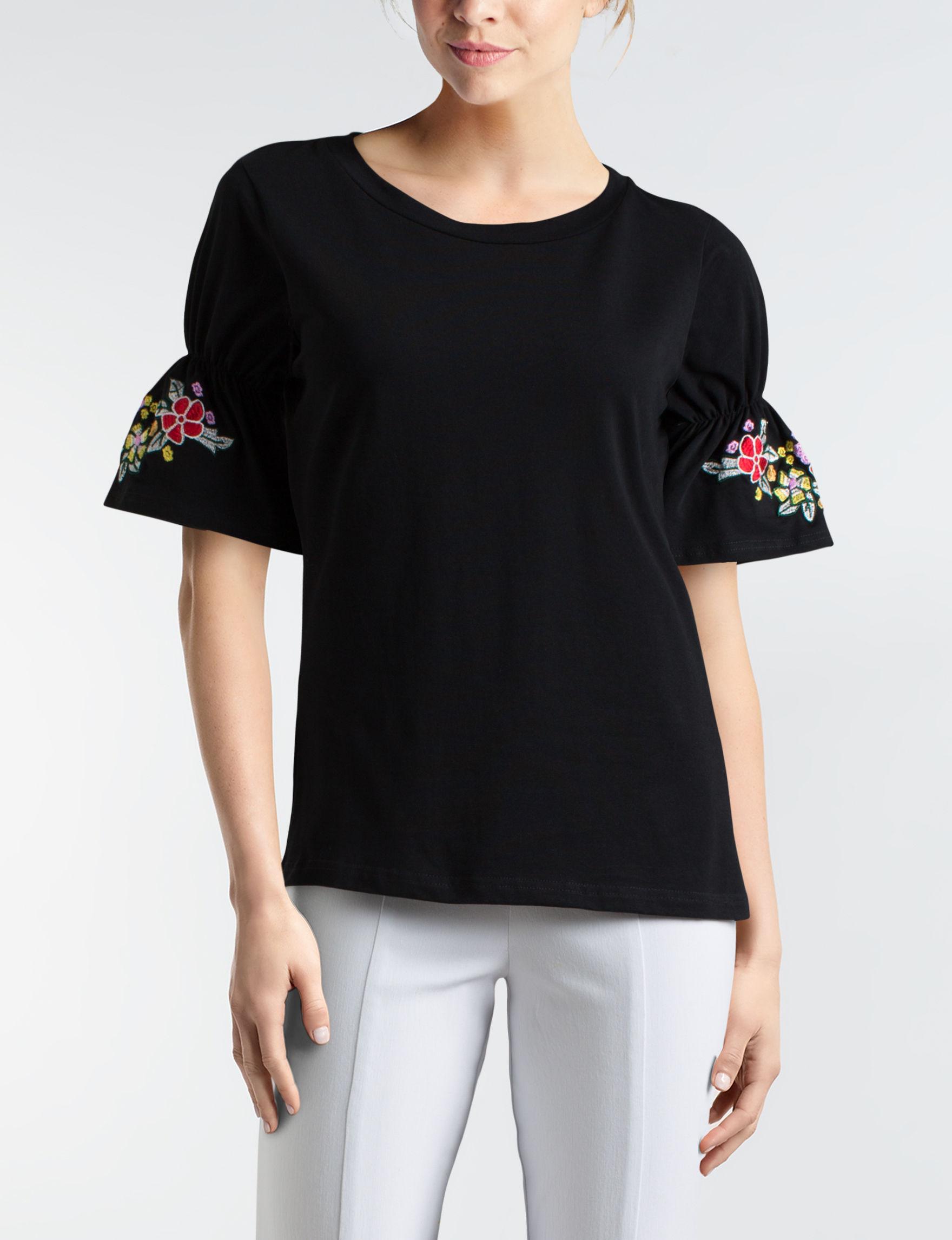 August Silk Black Shirts & Blouses
