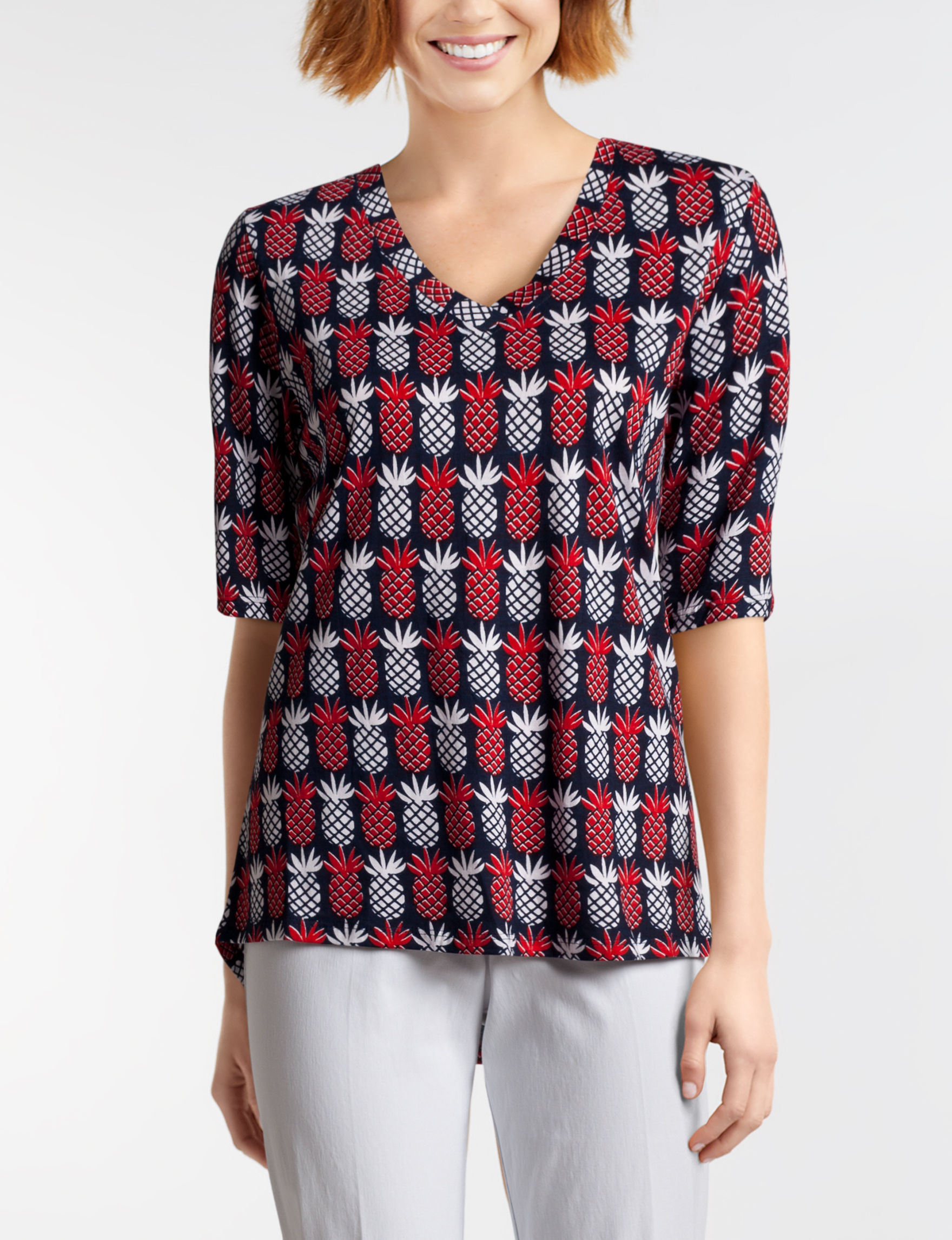 New Direction Red / Navy Shirts & Blouses