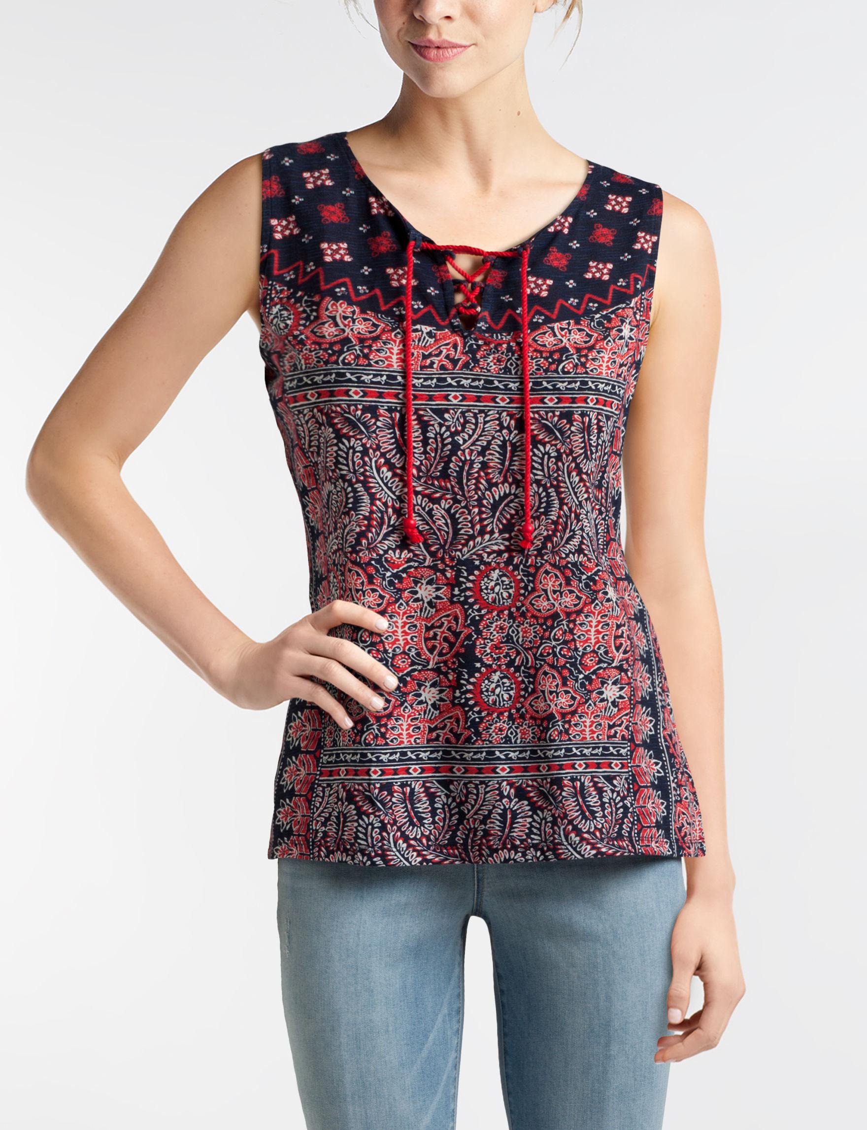 Hannah Red Multi Shirts & Blouses