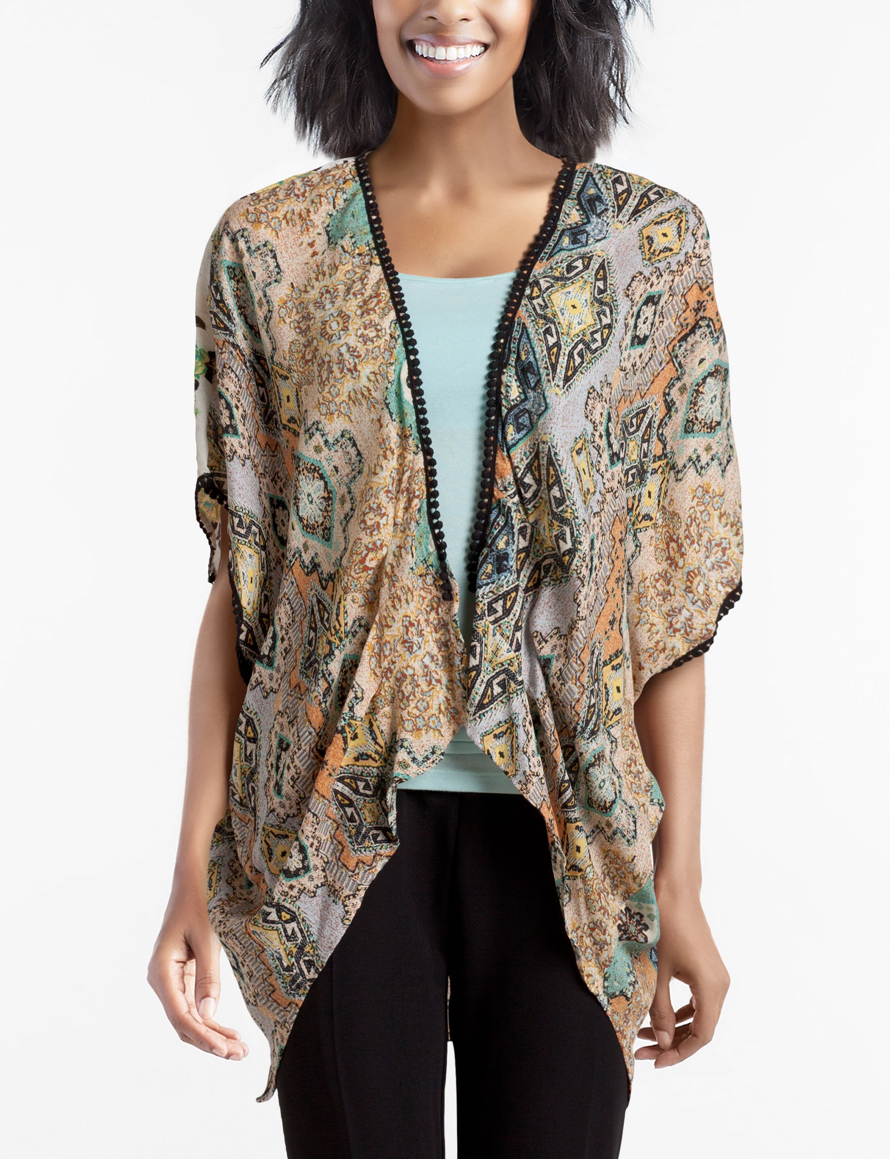 Figuero & Flower Brown Multi Shirts & Blouses