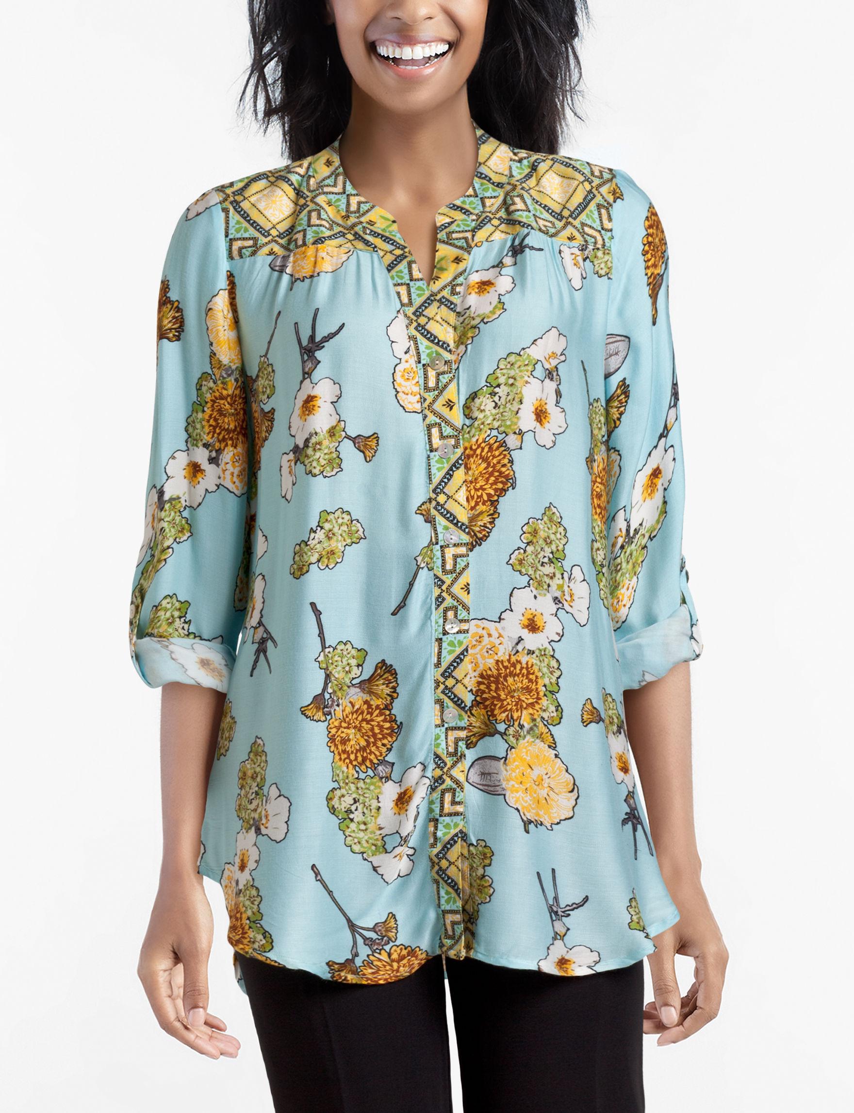 Figuero & Flower Blue Multi Shirts & Blouses
