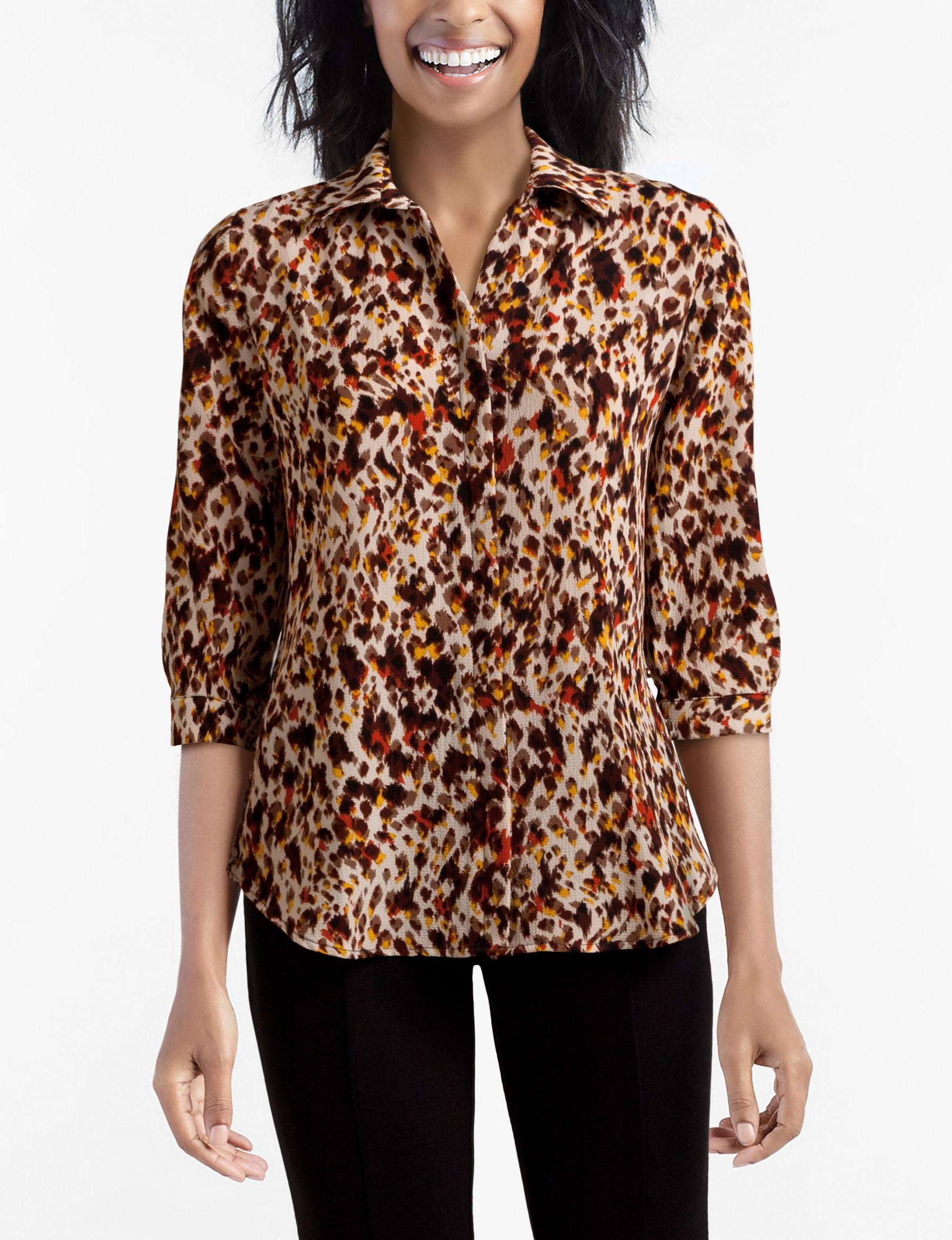Valerie Stevens Beige / Multi Shirts & Blouses