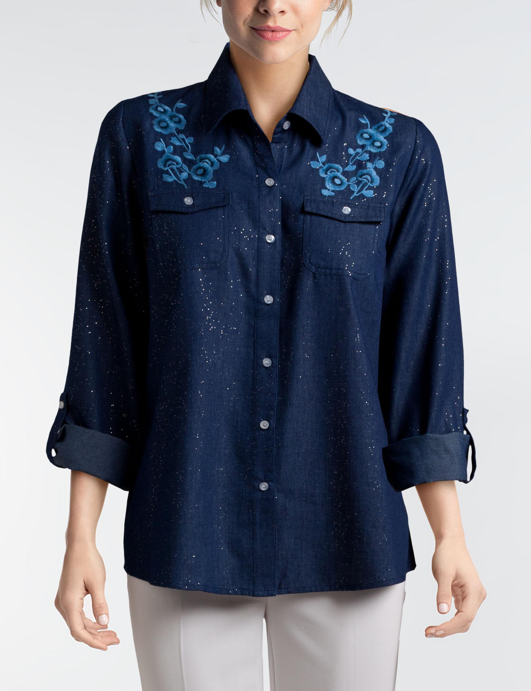 Cathy Daniels Blue Shirts & Blouses