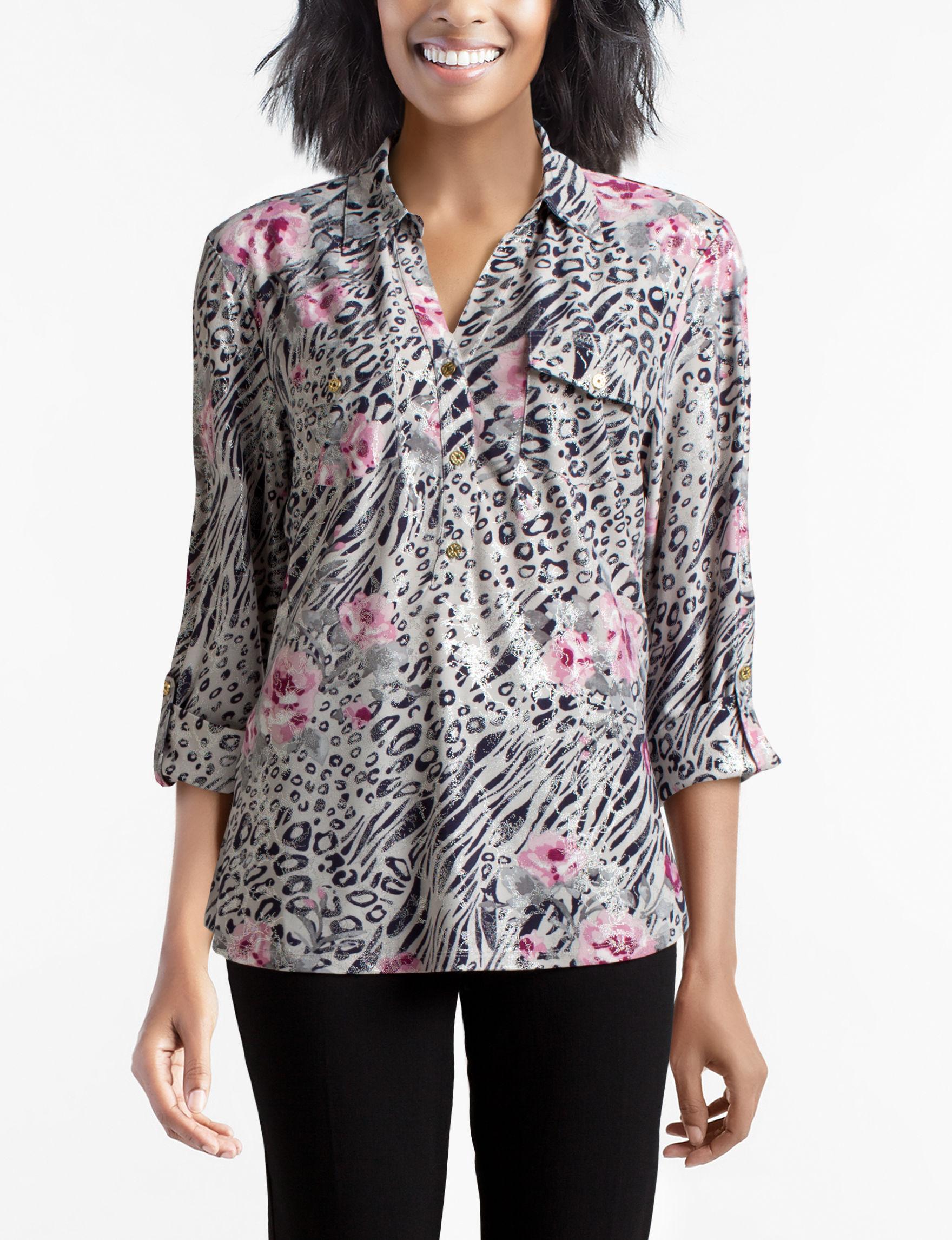 Rebecca Malone Grey Multi Shirts & Blouses
