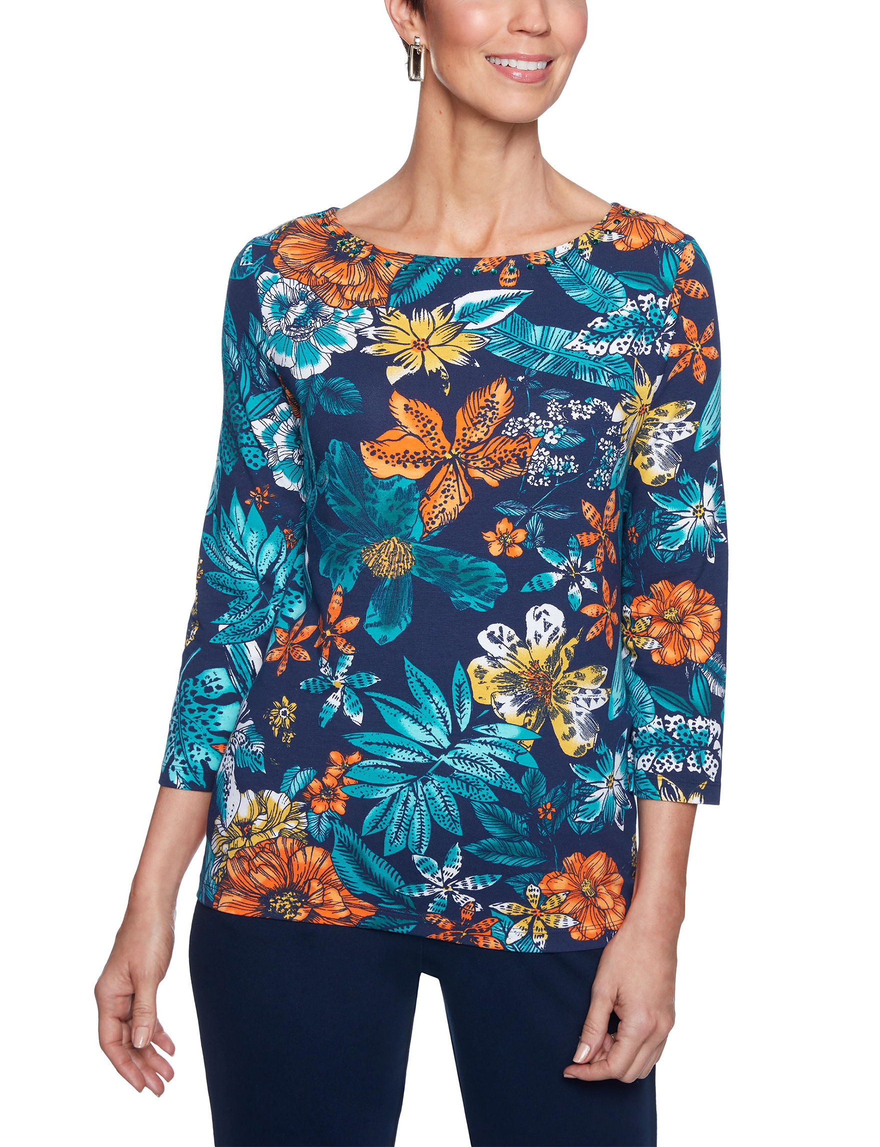 Ruby Road Blue Floral Shirts & Blouses