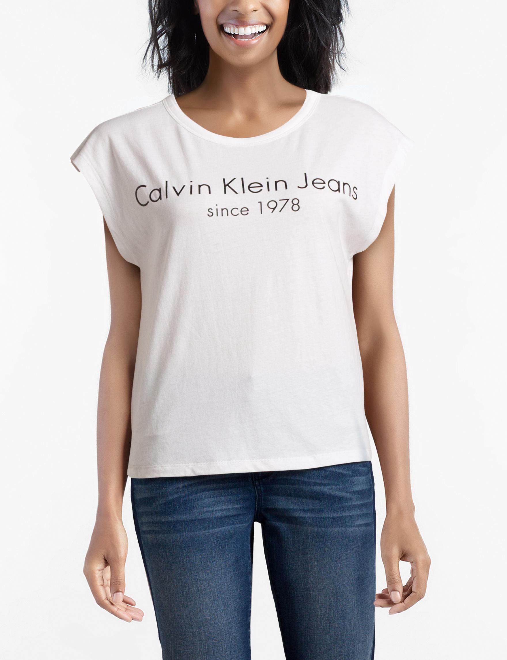 Calvin Klein Jeans White Shirts & Blouses Tees & Tanks
