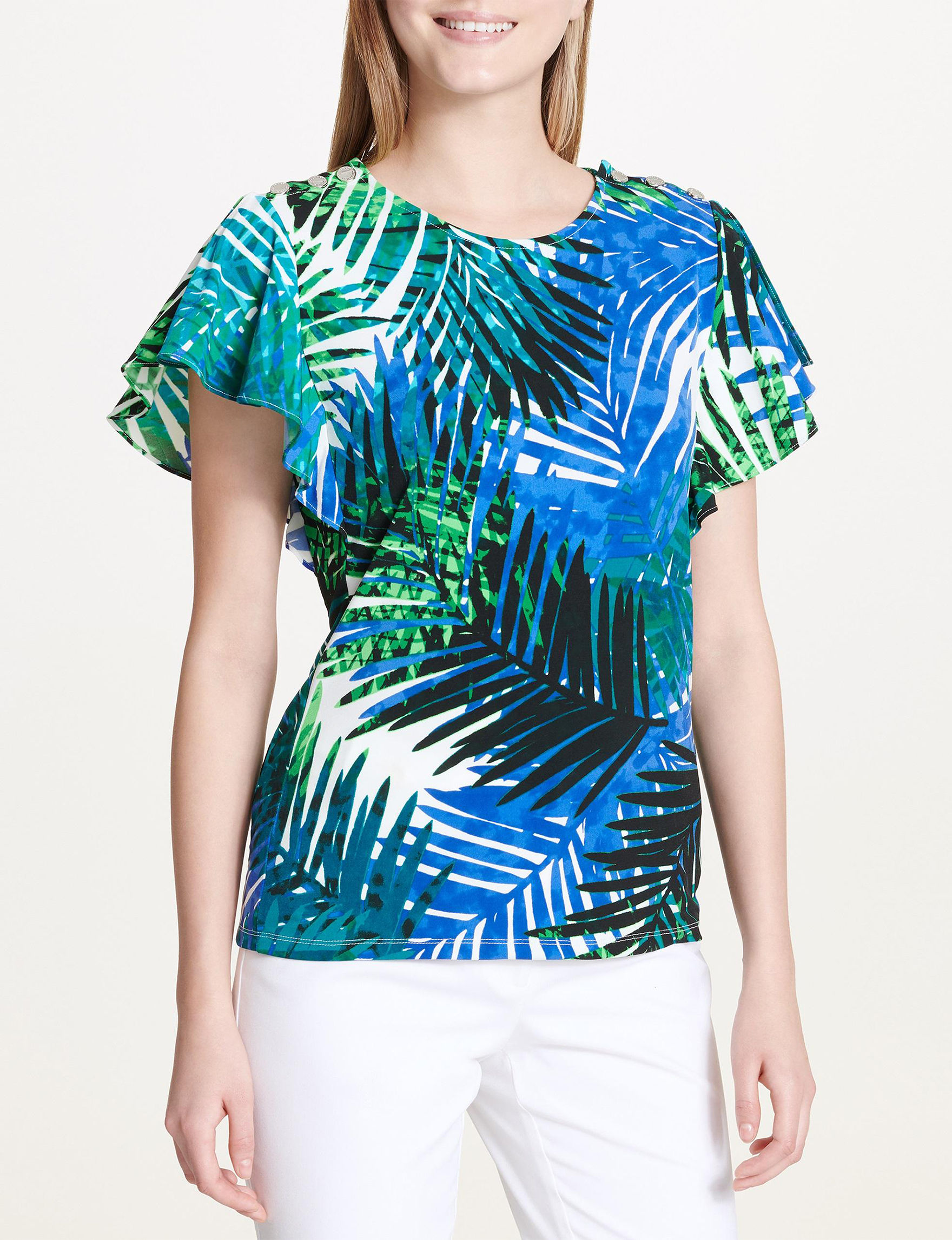 Calvin Klein Blue Multi Shirts & Blouses