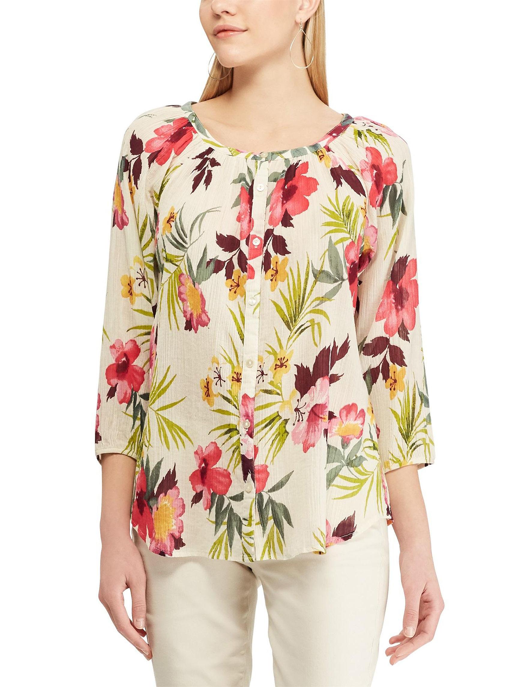 Chaps Beige / Multi Shirts & Blouses