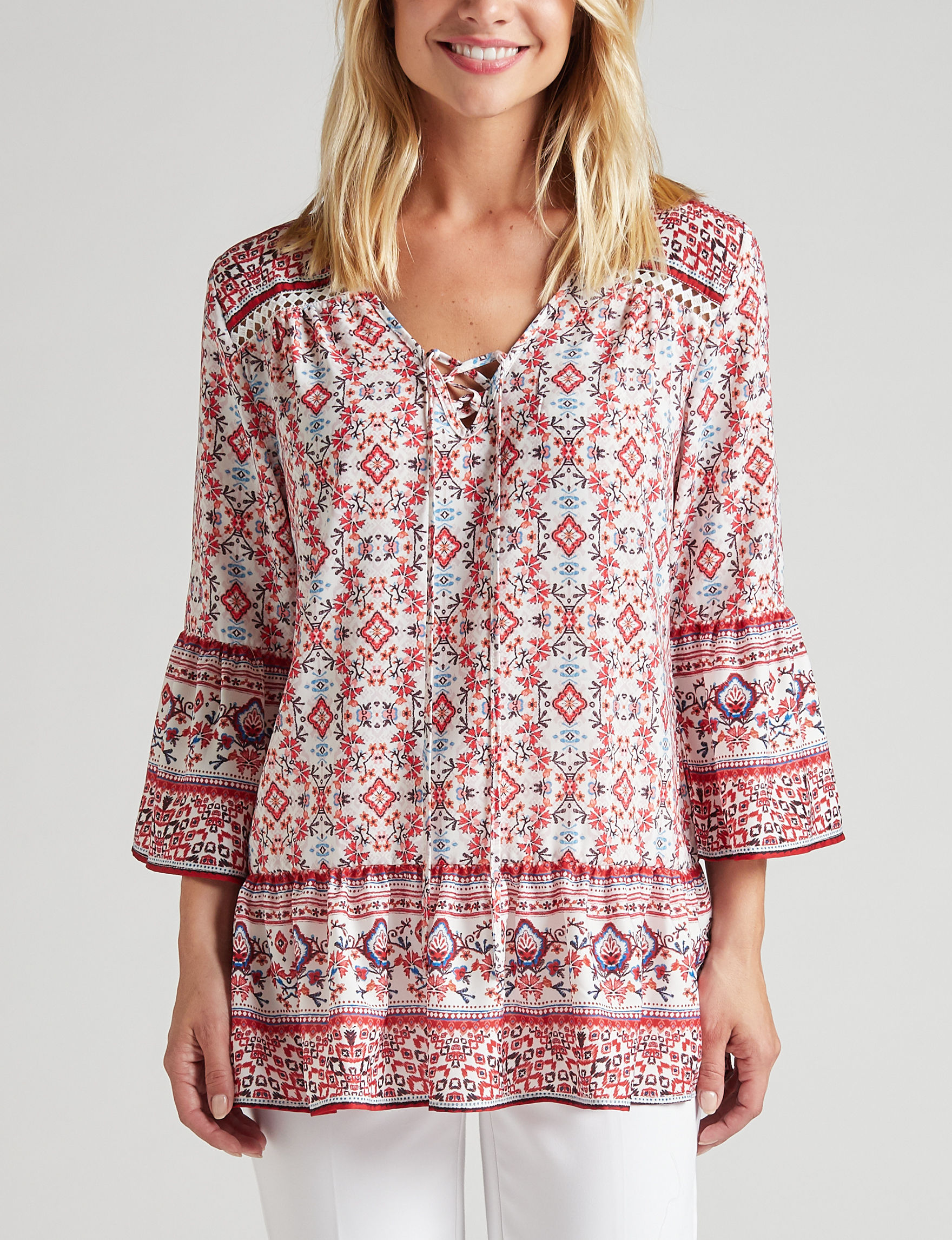 Sunny Leigh Red Floral Shirts & Blouses