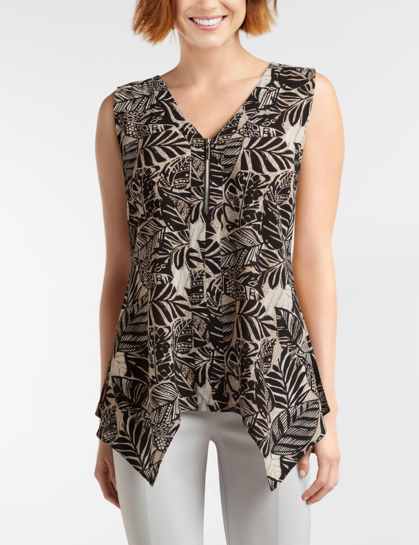 Valerie Stevens Beige / Black Shirts & Blouses