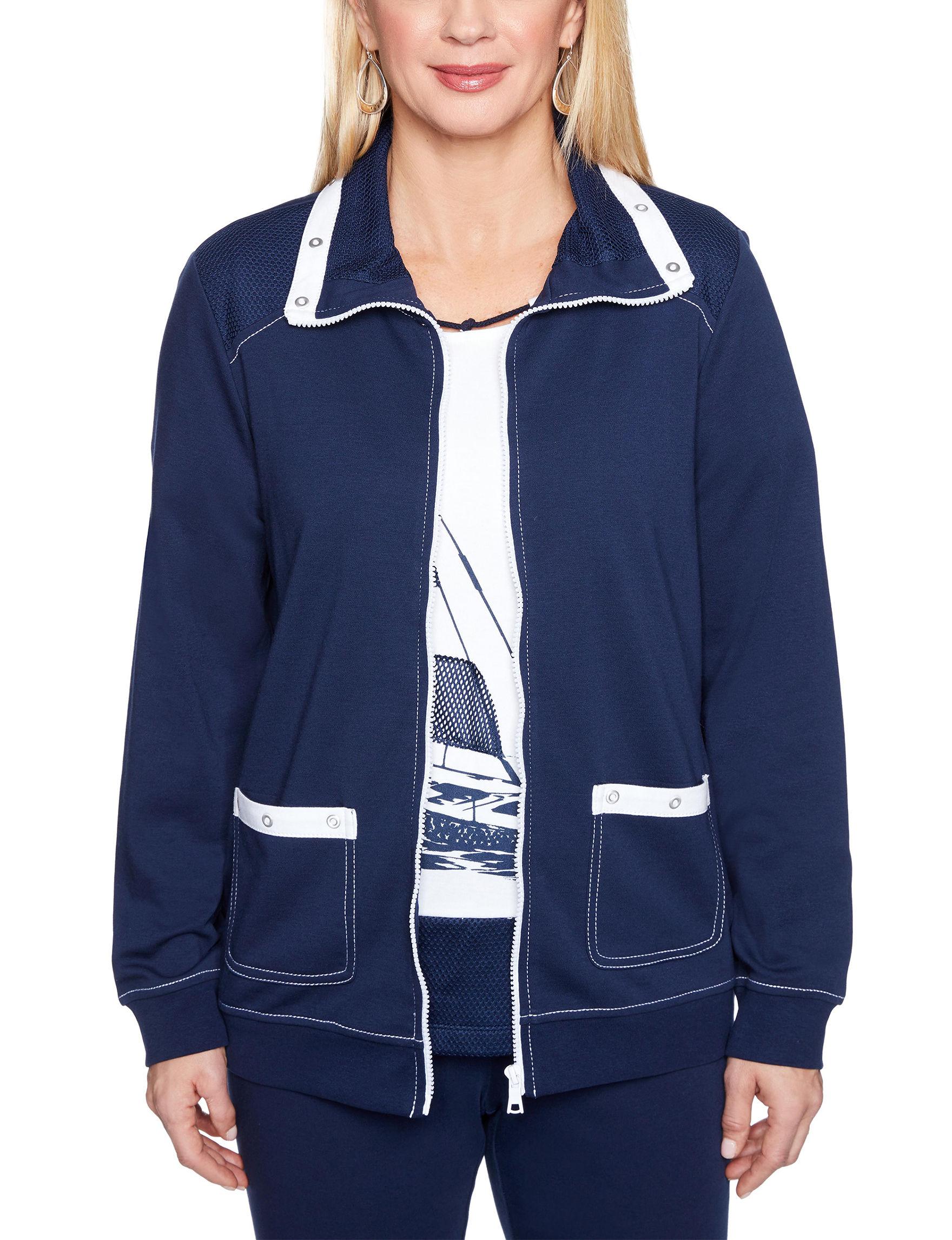 Alfred Dunner Navy Lightweight Jackets & Blazers