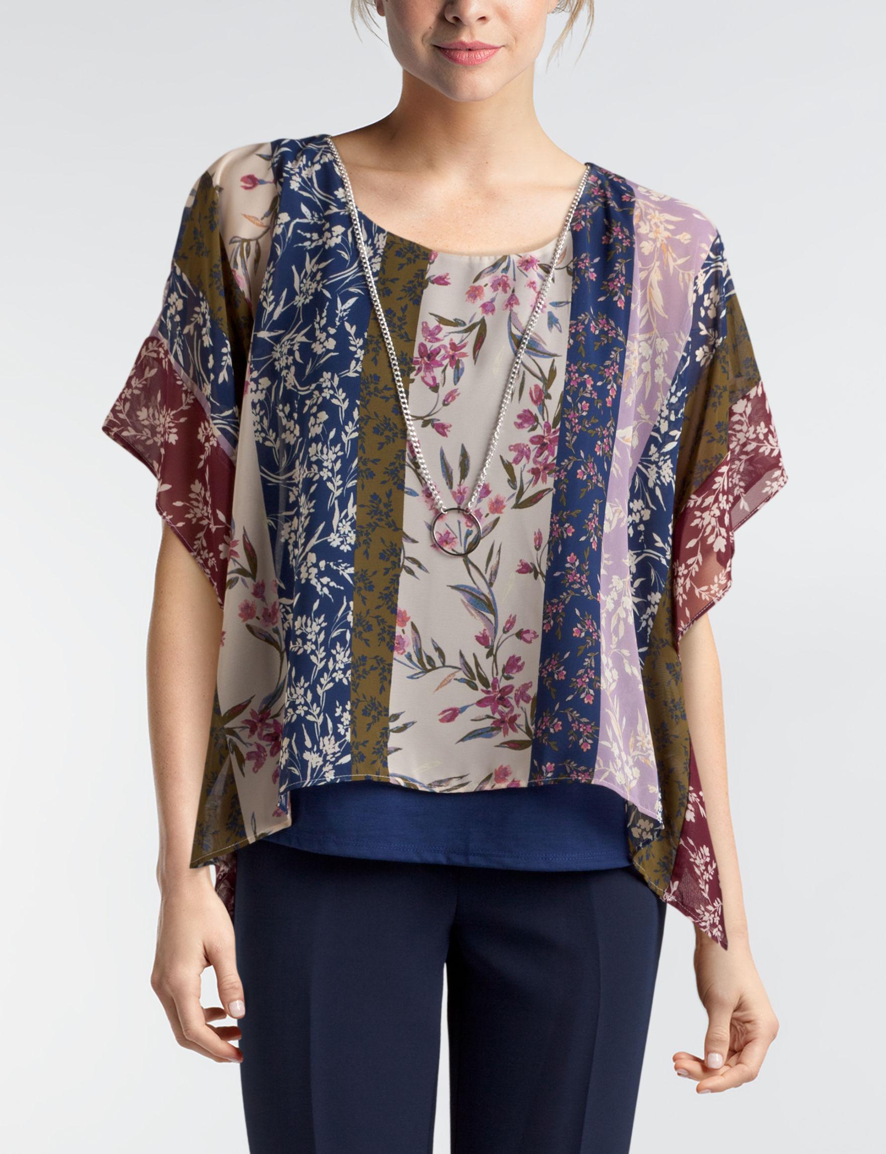 Zac & Rachel Navy Multi Shirts & Blouses