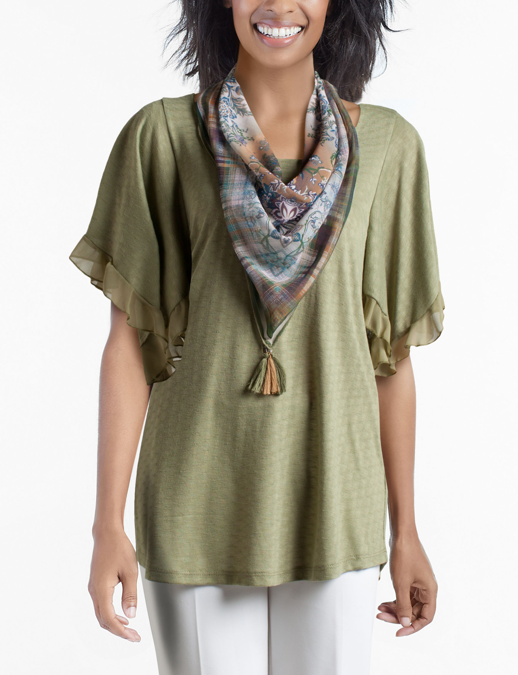 Energe Olive Shirts & Blouses