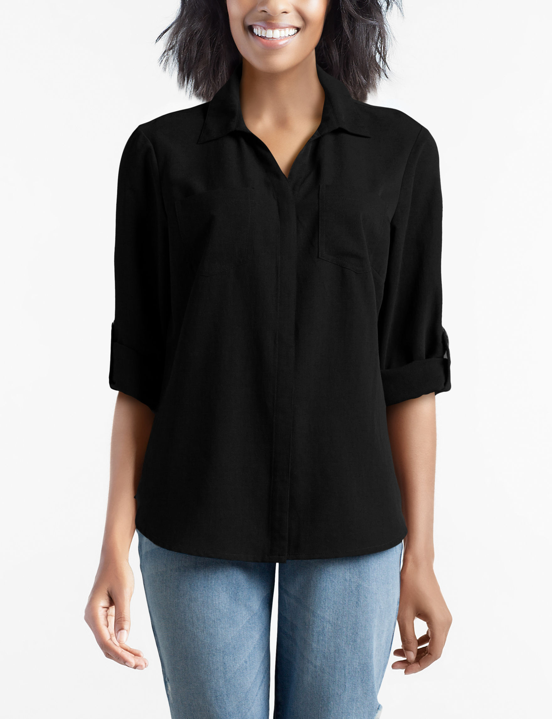 New Direction Black Shirts & Blouses